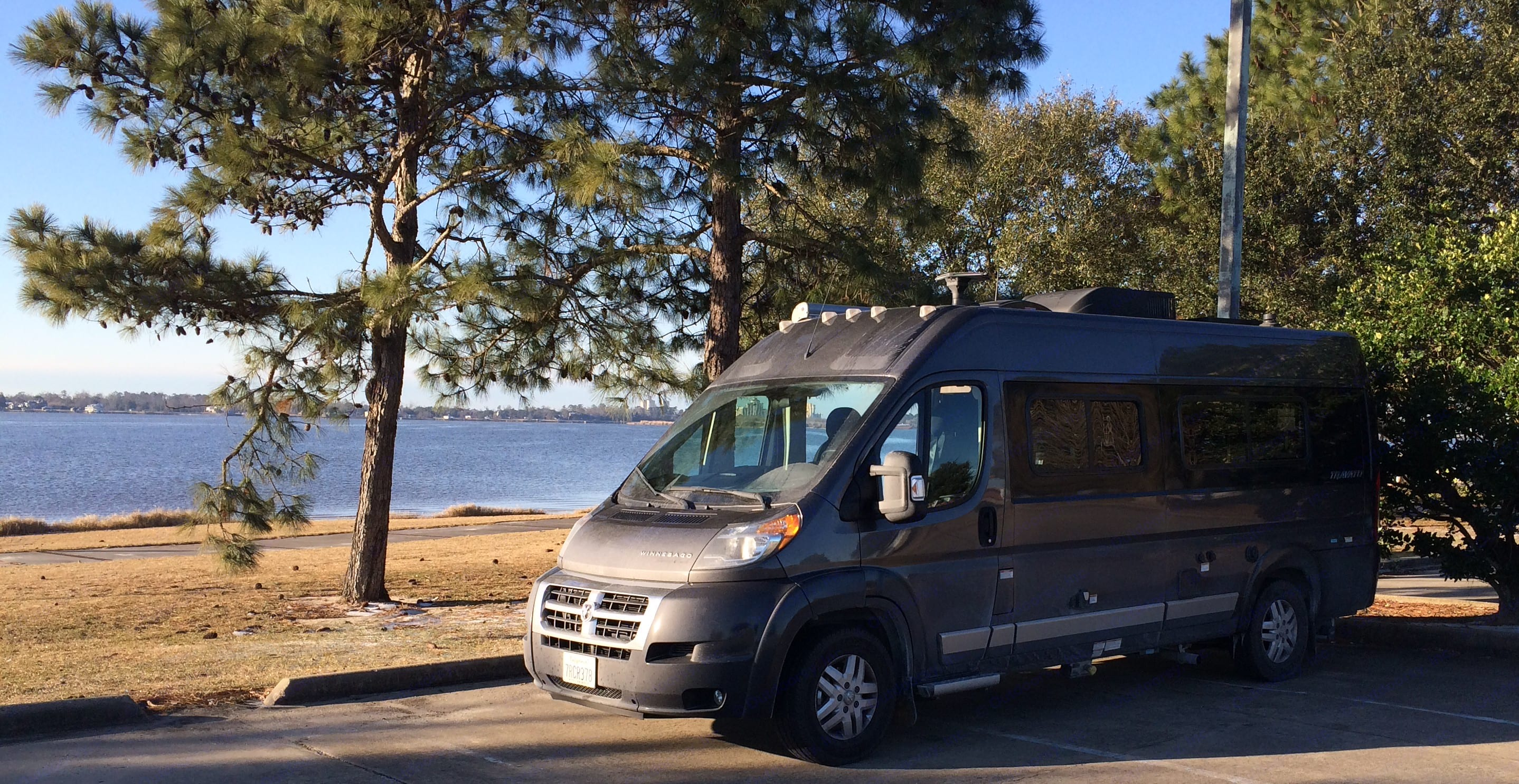 Comfortable and not distracting at a cool lakeside. Winnebago Travato 2017