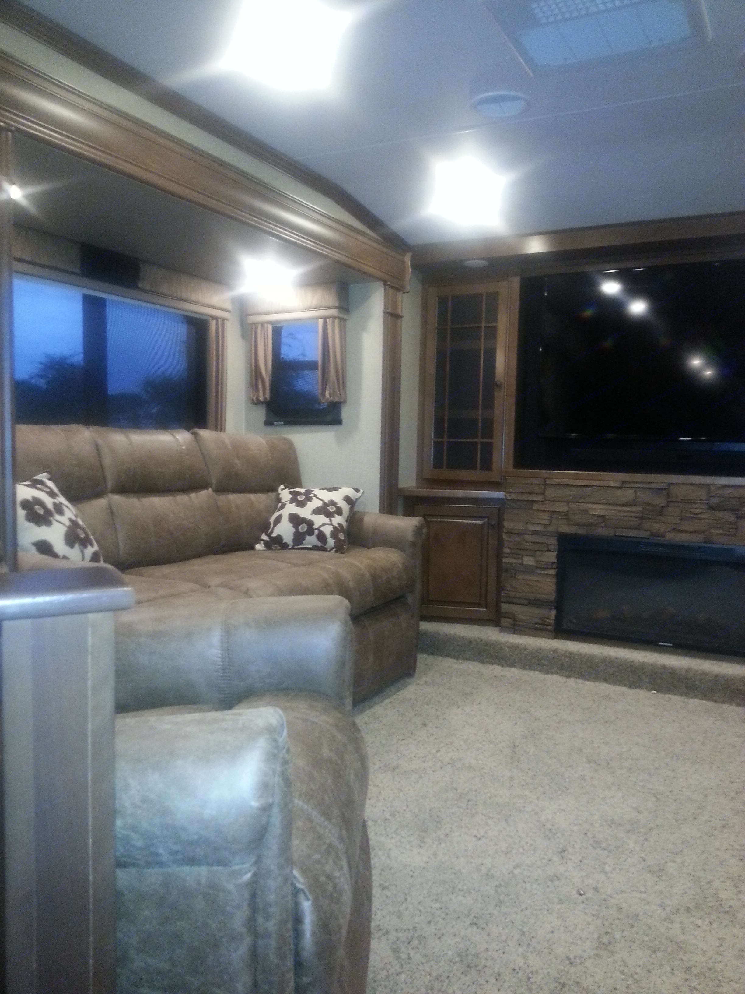 Living Room is large enough to accommodate Queen Size Air Mattress. . Heartland Bighorn 2015