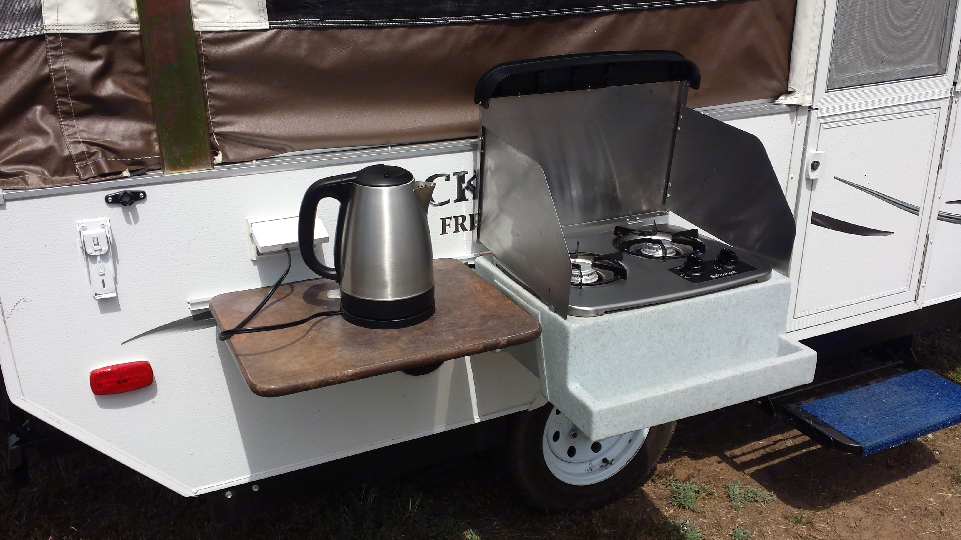 Outdoor cookstove and table!  Electric Water Kettle (optional). Forest River Rockwood Freedom 2014