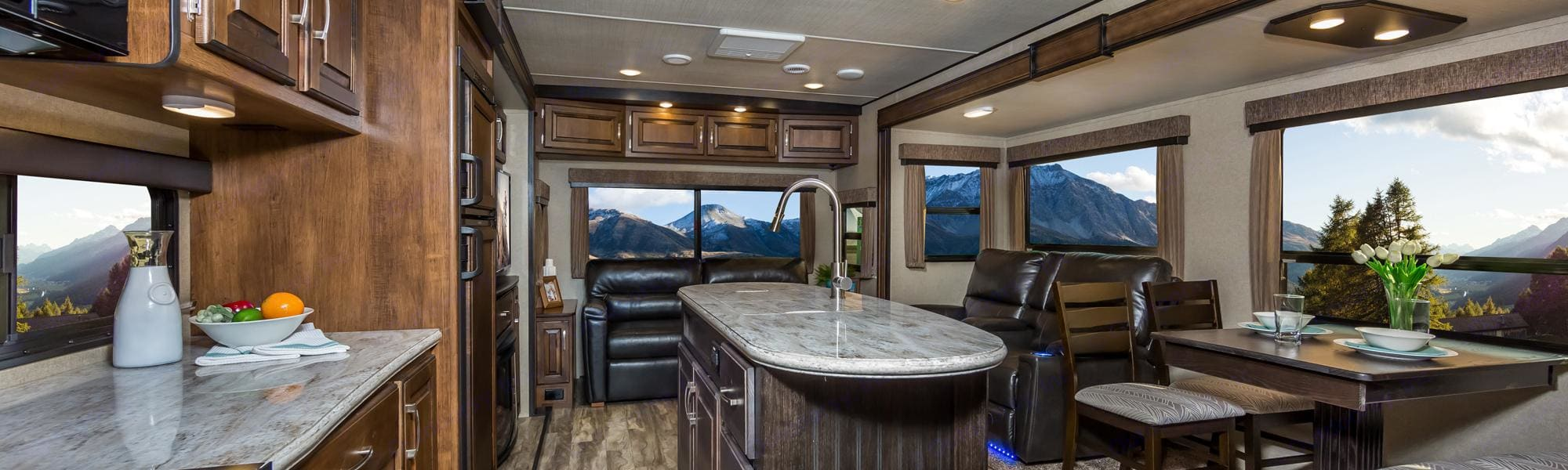 Inside the Grand Design.  Beautiful wood and leather features make you feel right at home!. Grand Design Reflection 2017