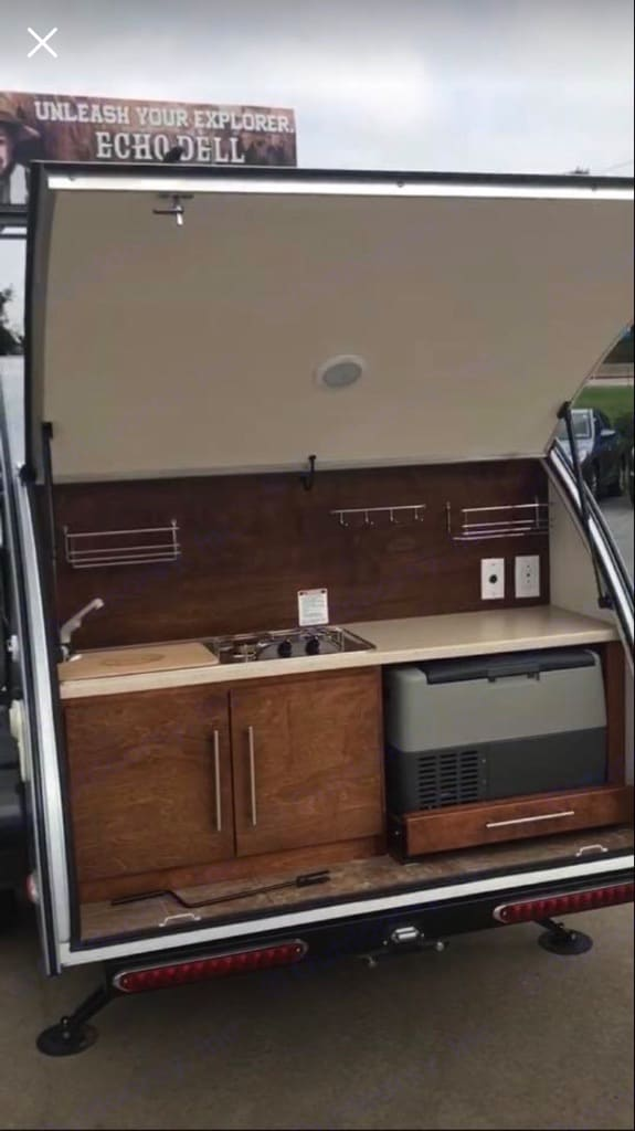 Full galley including sink, propane stove, fridge/freezer combo. Little Guy T@G Max 2015