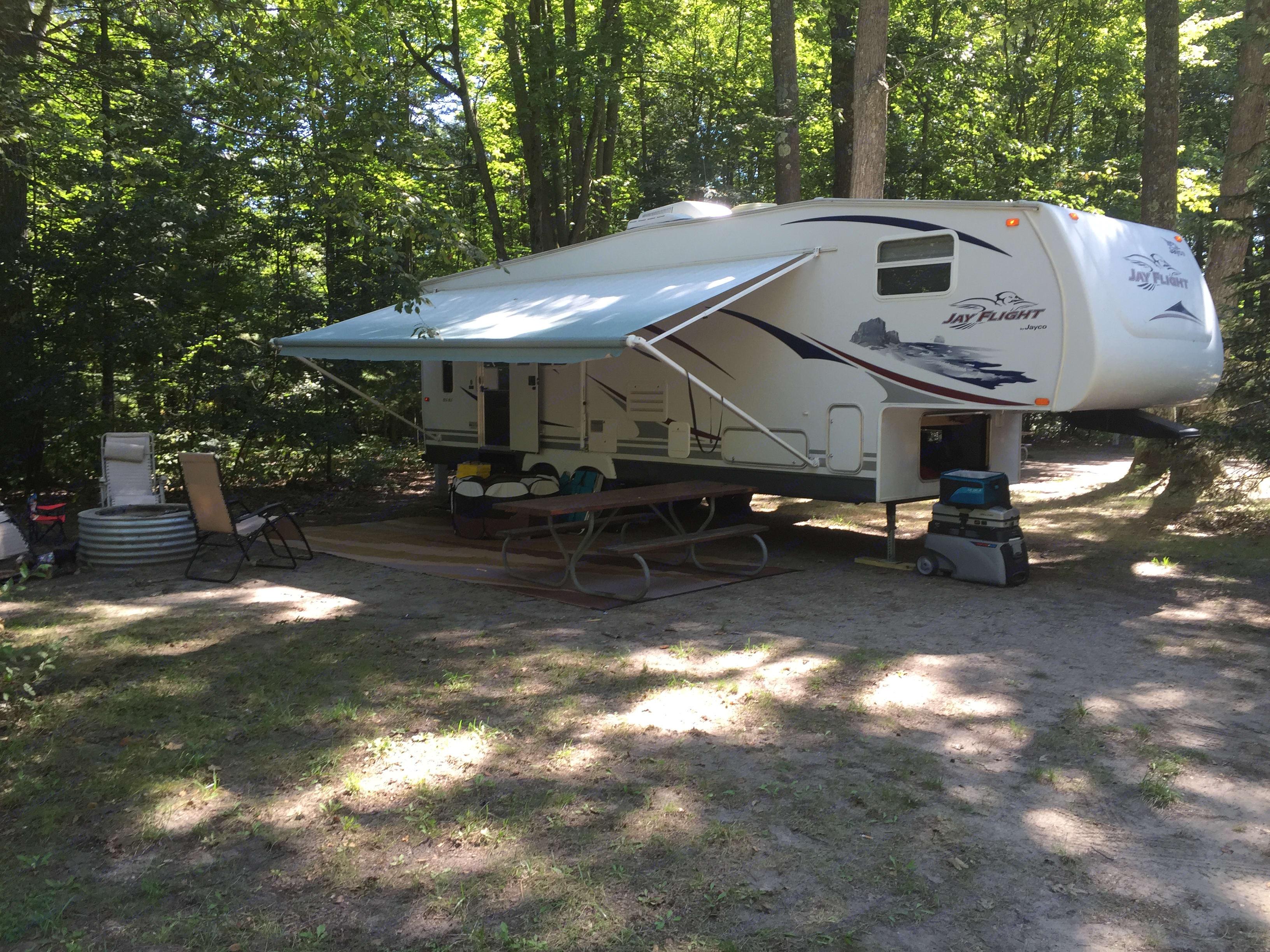 Set up at Higgins Lake. Jayco Jay Flight 2007