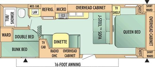Spacious floor plan. Lots of room to move around and tons of storage.. Jayco Jay Flight 26BH 2010