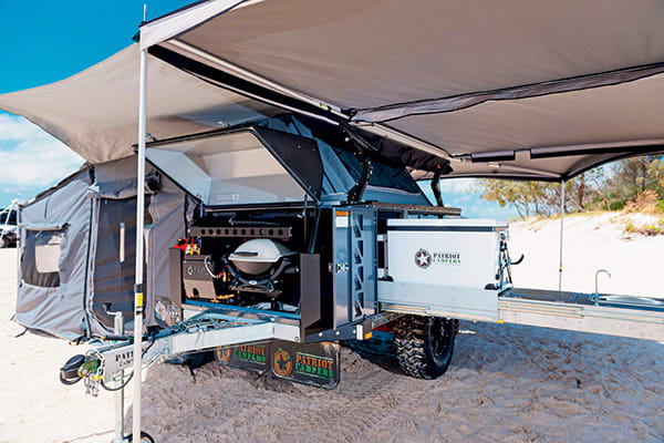 Front - with pull out bbq, fridge and sink extended.. Patriot X1 Grand Tourer 2018