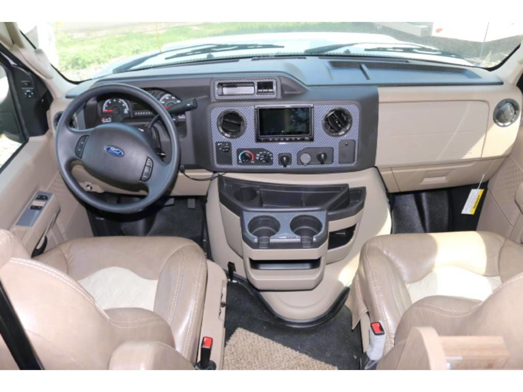 Very comfortable seating for driver and passenger.  Garmin GPS and audio control system located on dash and can disconnect to be a hand held device.. Jayco Greyhawk 2018