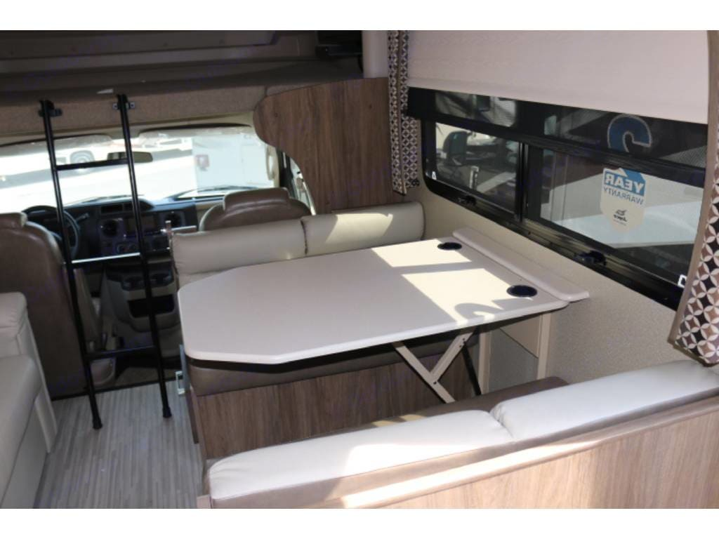 Dinette folds down into bed. Jayco Greyhawk 2018