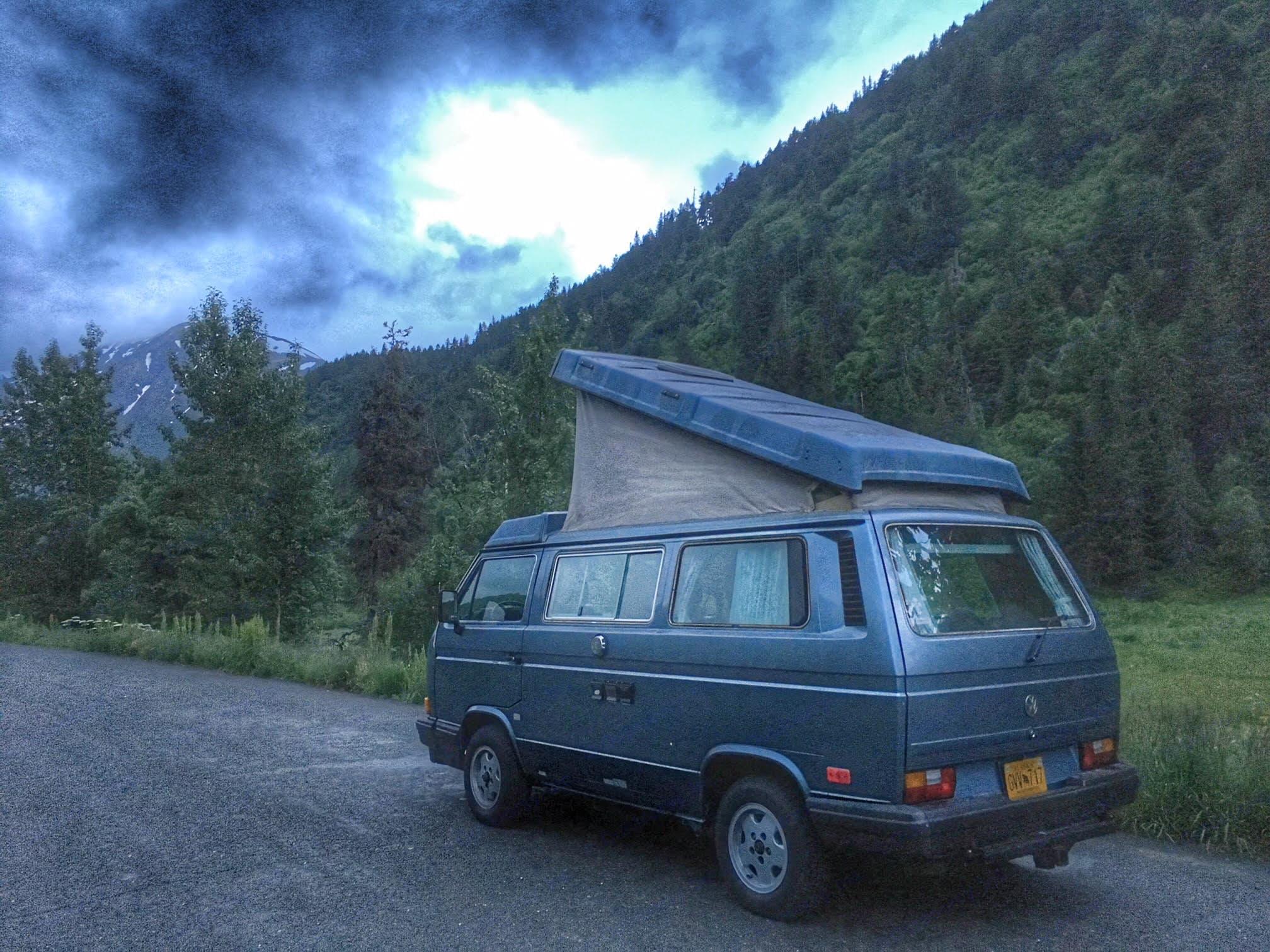 Clark camping by Tern Lake. Volkswagen Westfalia 1988