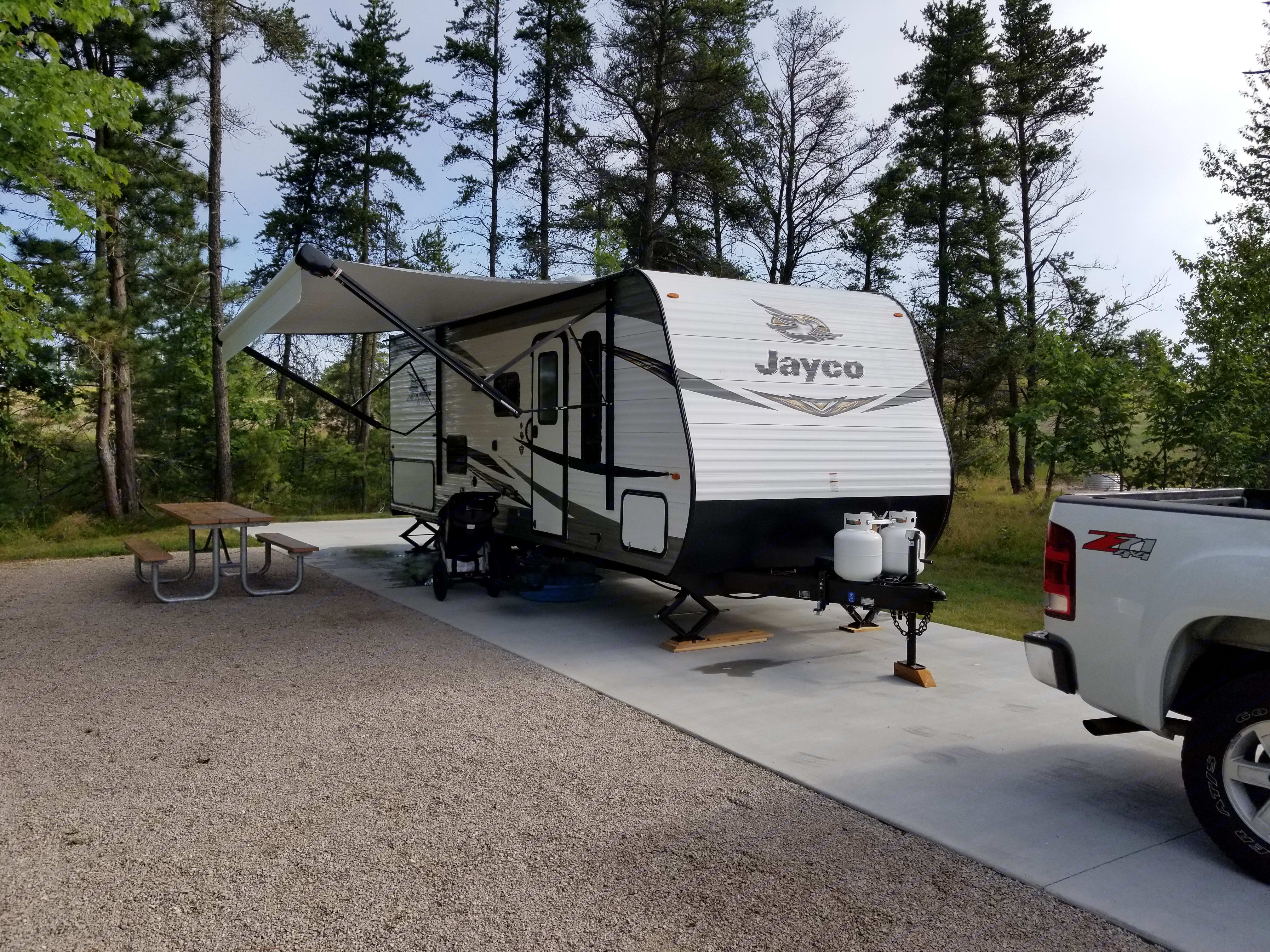 Set up and ready to camp on our maiden voyage!. Jayco Jay Flight SLX 224BH 2019