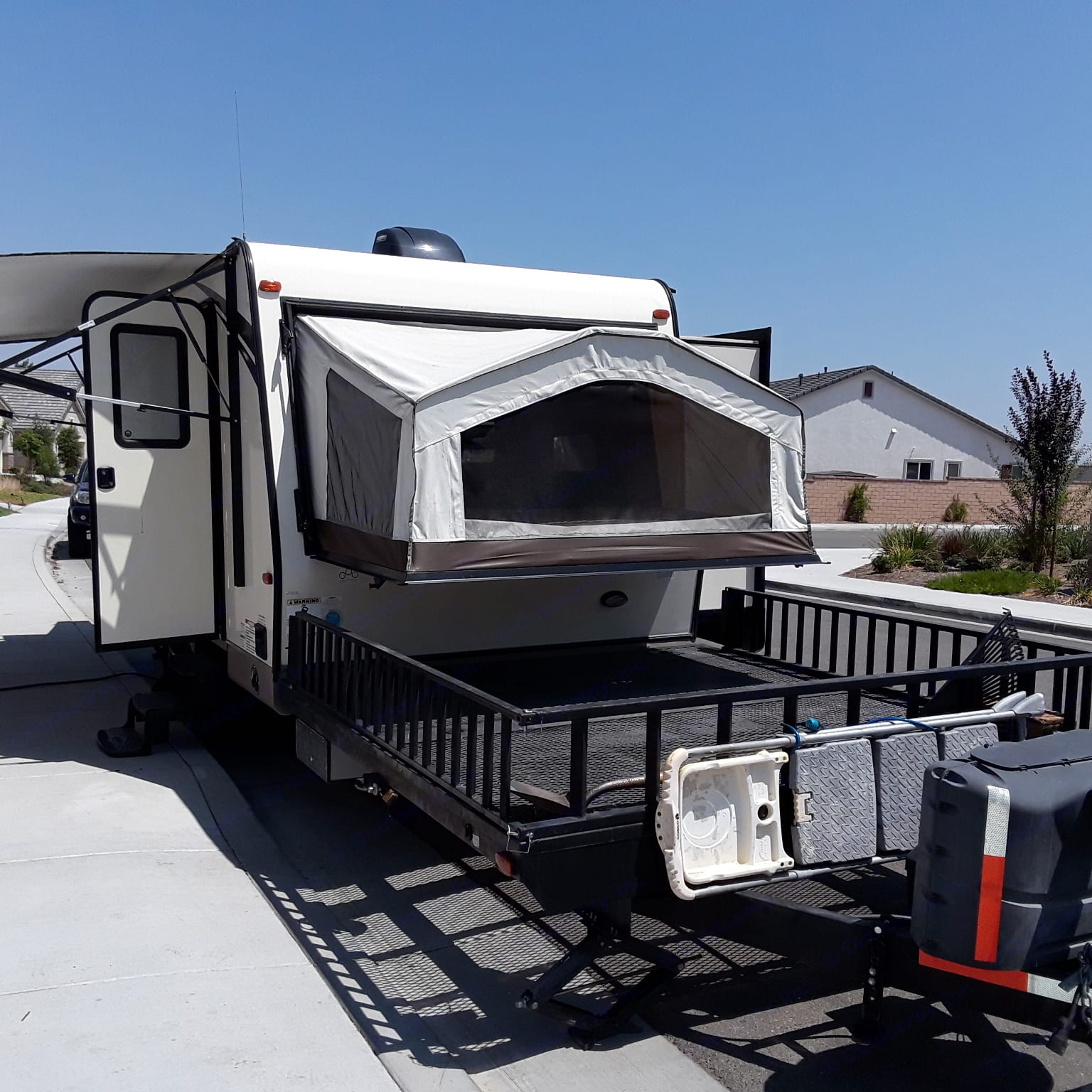 Front sleeping area.  Also, the sides come off of the front here and can be used as ramps.  I have had quads and a golf cart on here.. Forest River Rockwood Roo SSL 21 2016