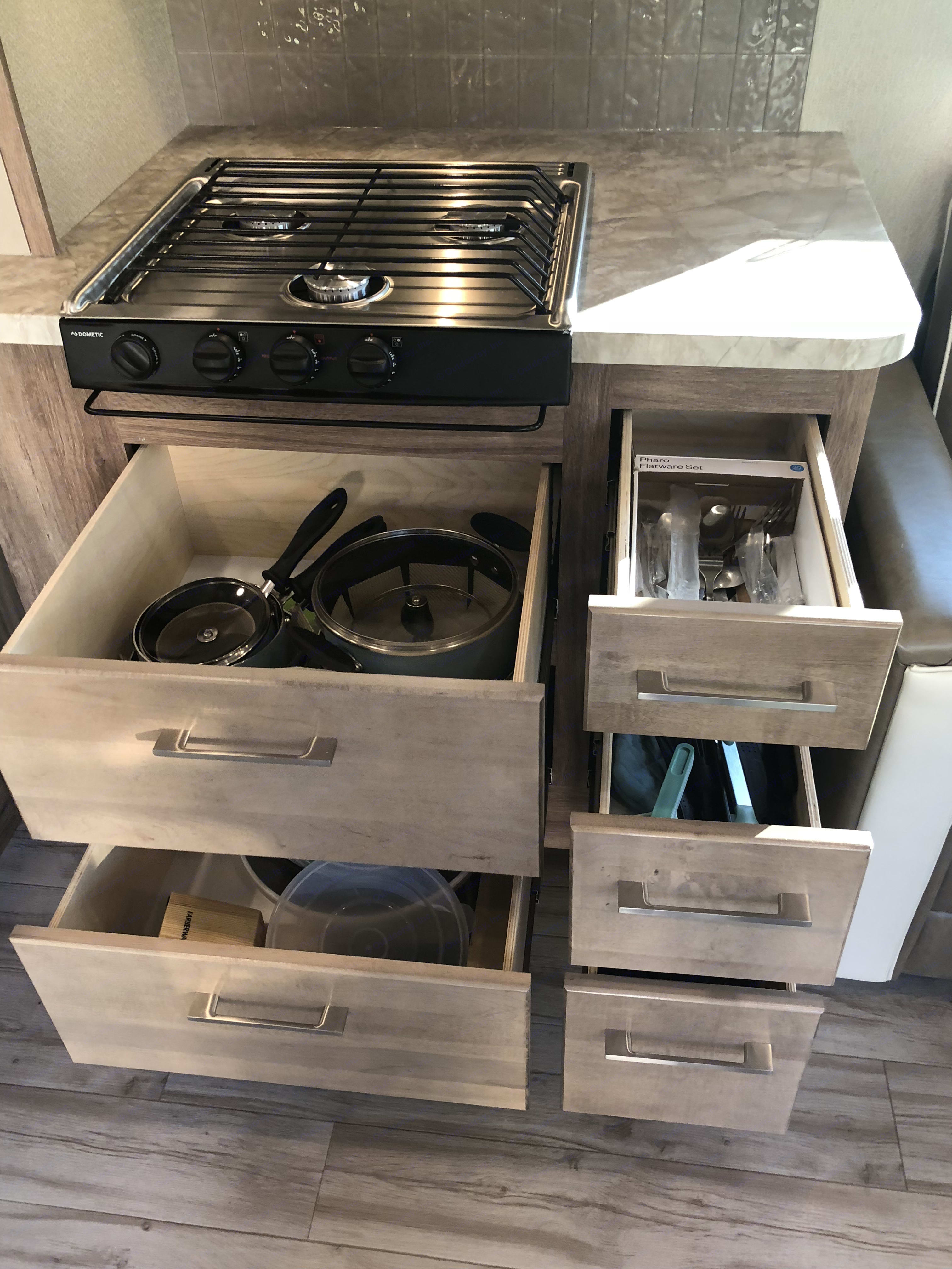 Under stove storage. Entegra Odyssey 2019