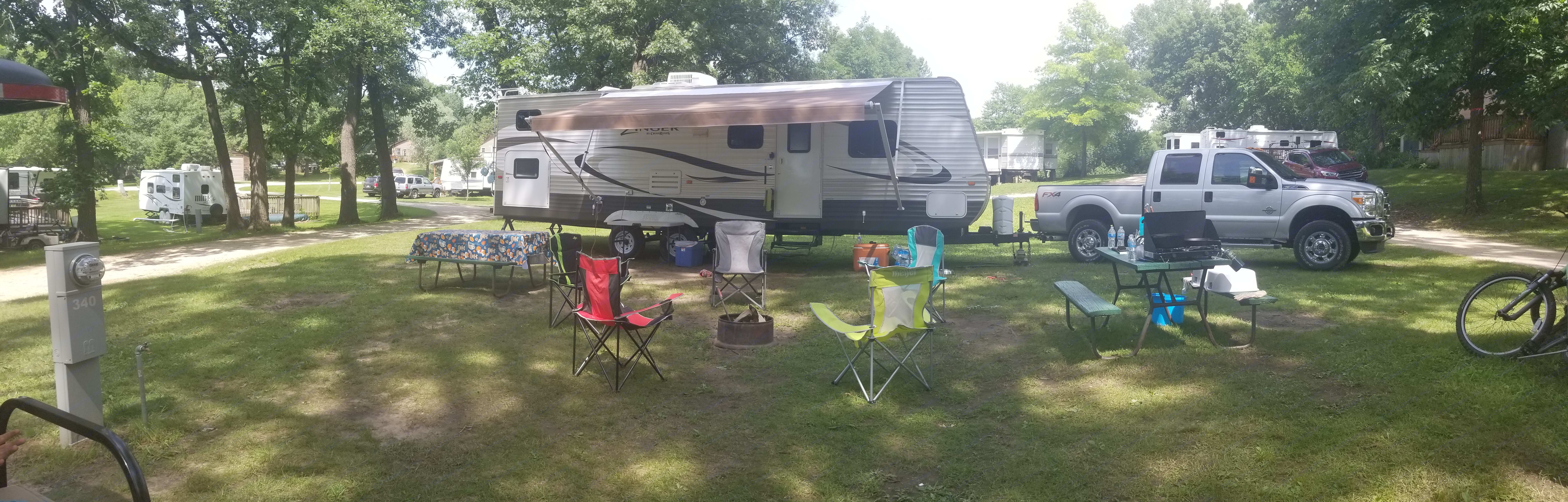 All set up at our campsite. Crossroads Zinger 2012
