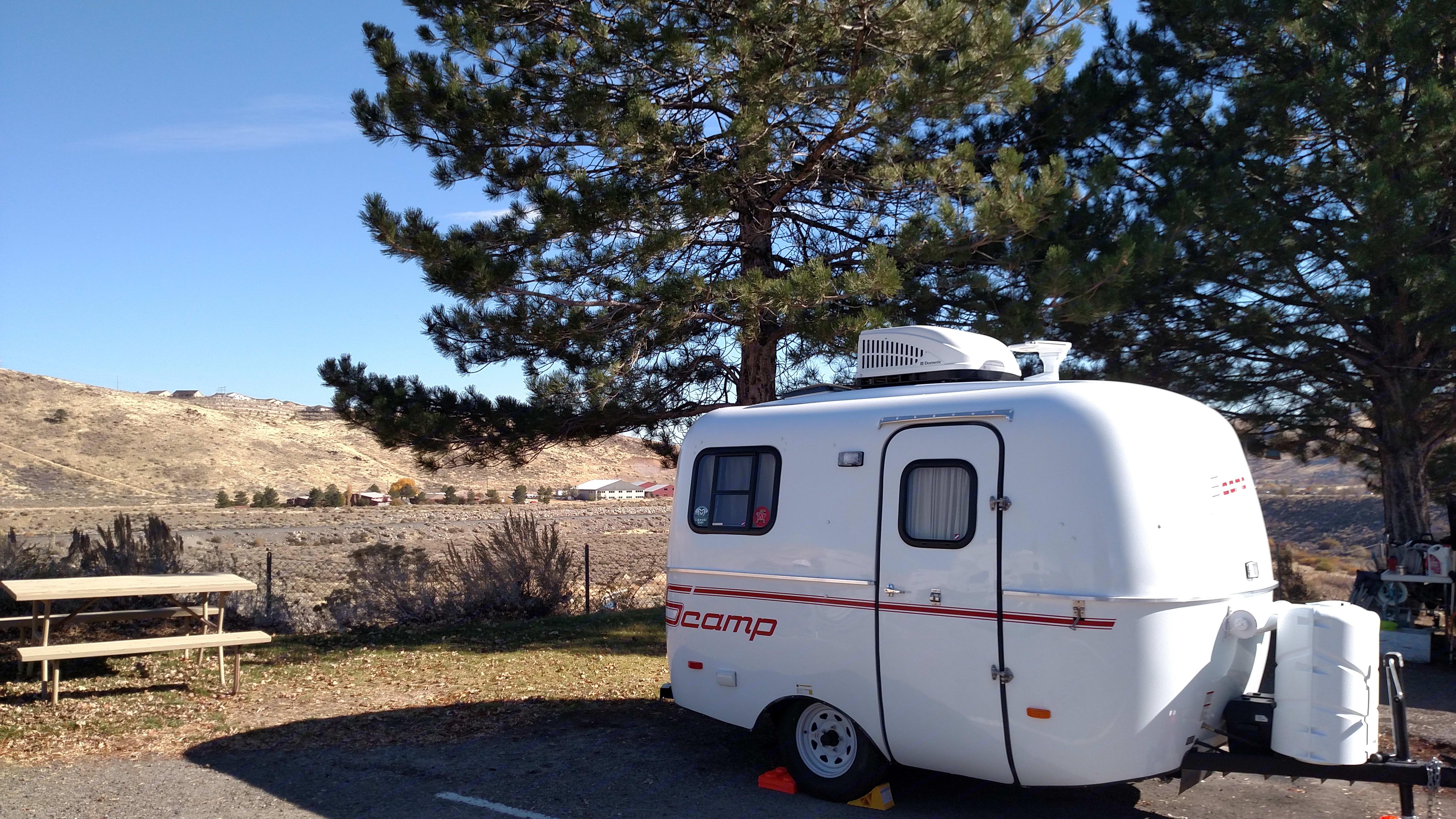 13' fiberglass trailer weighs 2000#. Scamp 13' 2016