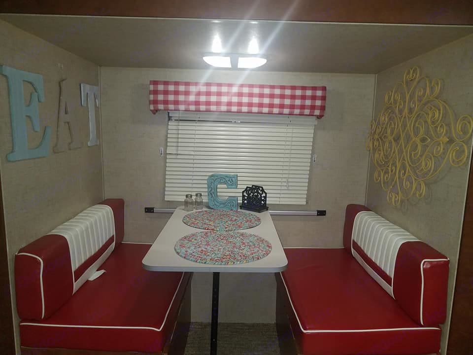 Kitchen table that also turns into a bed . Riverside Rv Whitewater Retro 2016