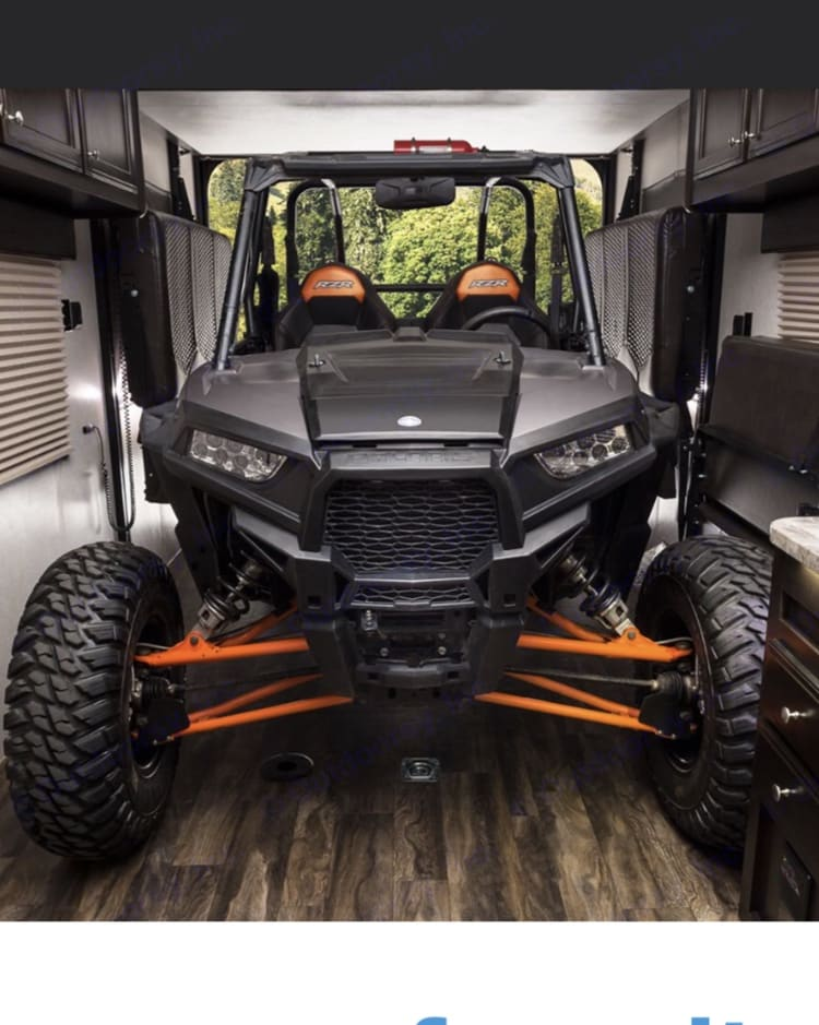 6-4 Height 8 Ft wide - can hold lifted Side by Side with 37in tires . Jayco Octane 2017