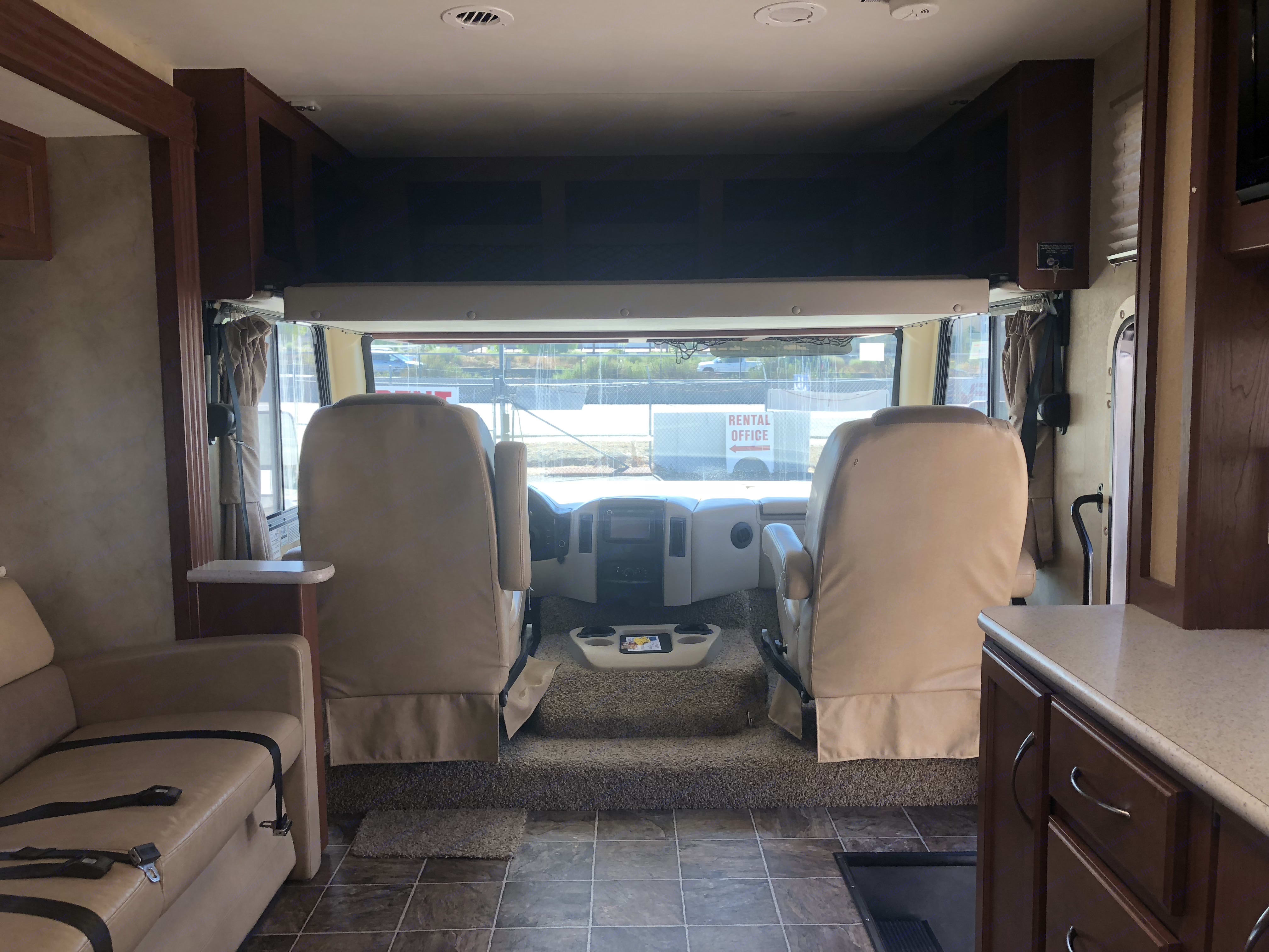 Over head bed extended. Thor Motor Coach A.C.E 2013