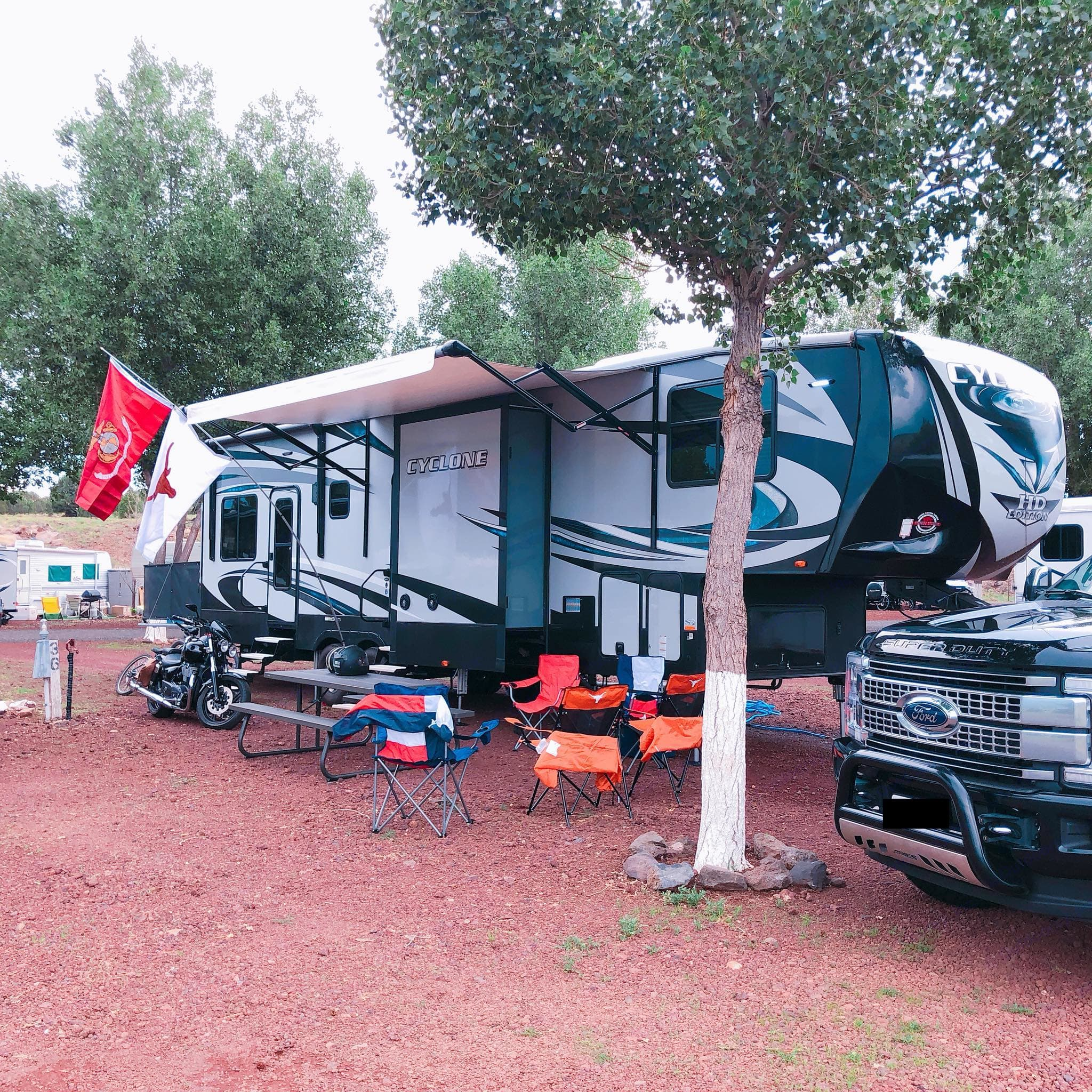 Exterior view of left side of RV. . Heartland Cyclone 2017