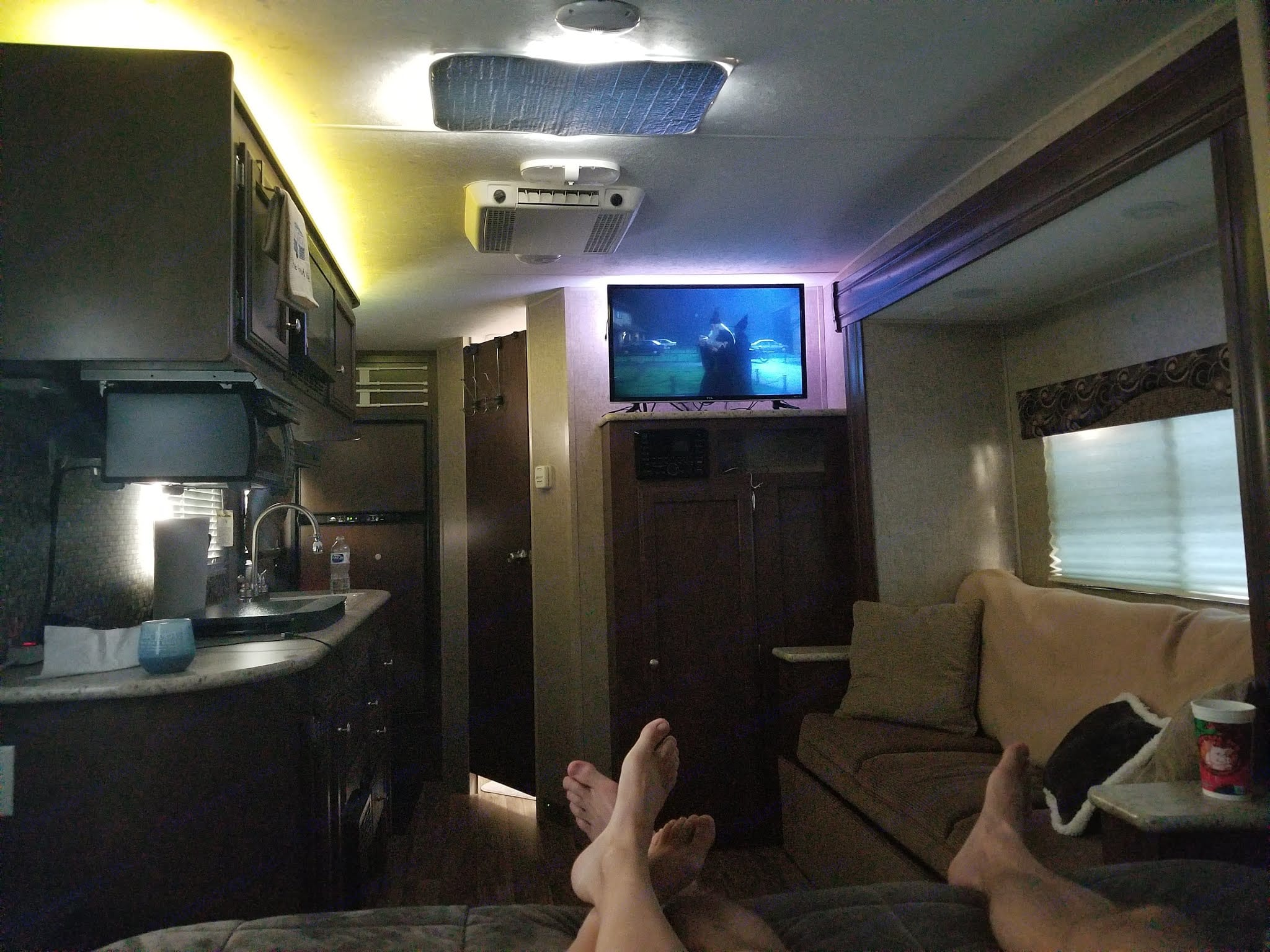The best hangout spot! Watching netflix on the bed (perfect for rainy days when camping). Venture Rv Sonic 2015
