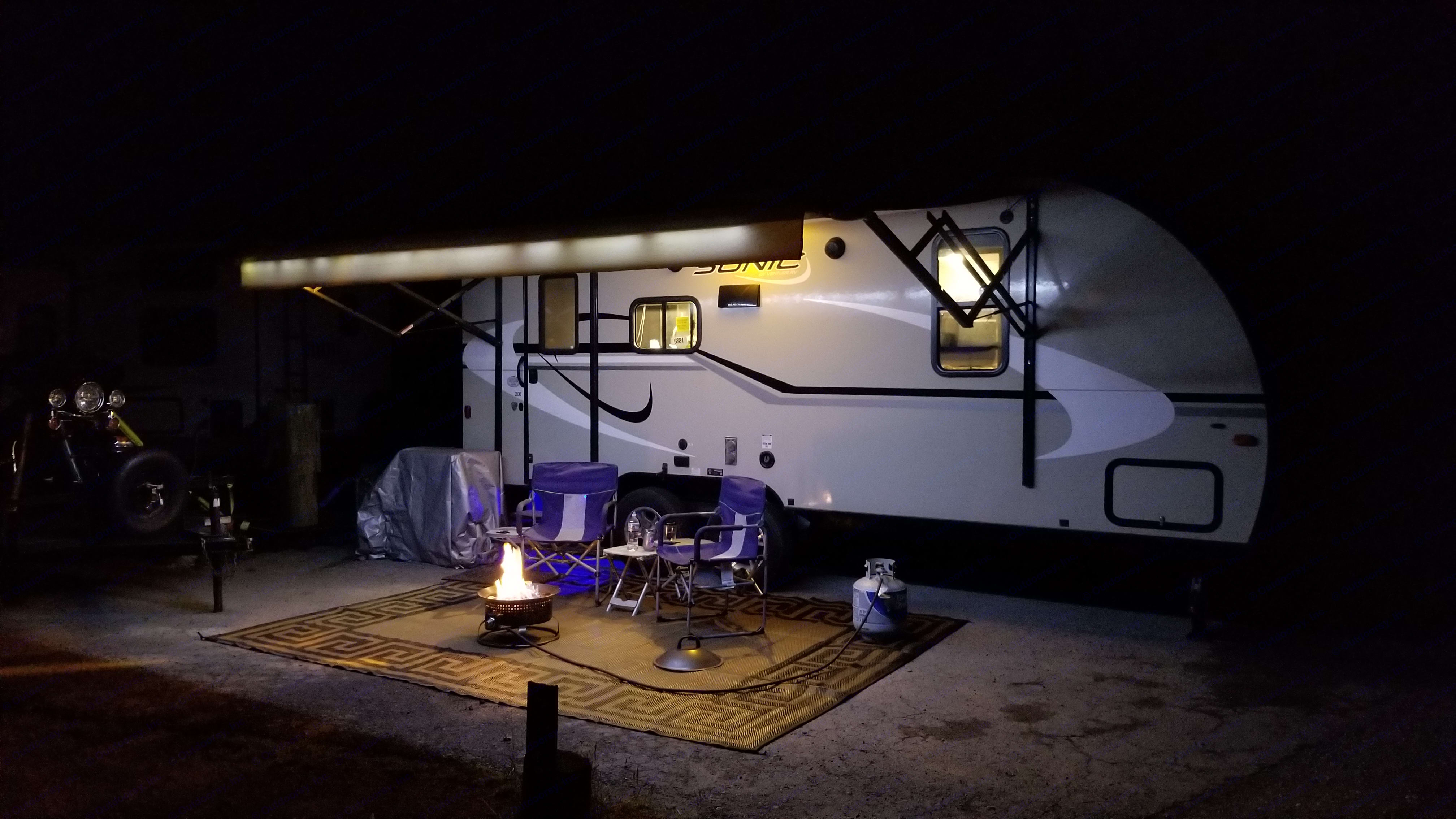 Set up, electric awning with LEDs . Venture Rv Sonic 2015