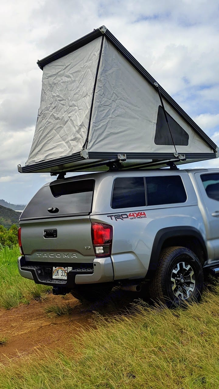 2018 Toyota Tacoma TRD Off Road with a GFC Rooftop Tent. Tent can be raised in about 30 seconds. Tent contains a comfortable bed that sleeps 2.. Toyota Tacoma 2018