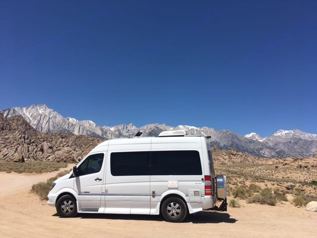 """OFF THE GRID"" PARK AND SLEEP ANYWHERE!!! LOVING THE EASTERN SIERRAS AND ALABAMA HILLS. Roadtrek Agile 2016"