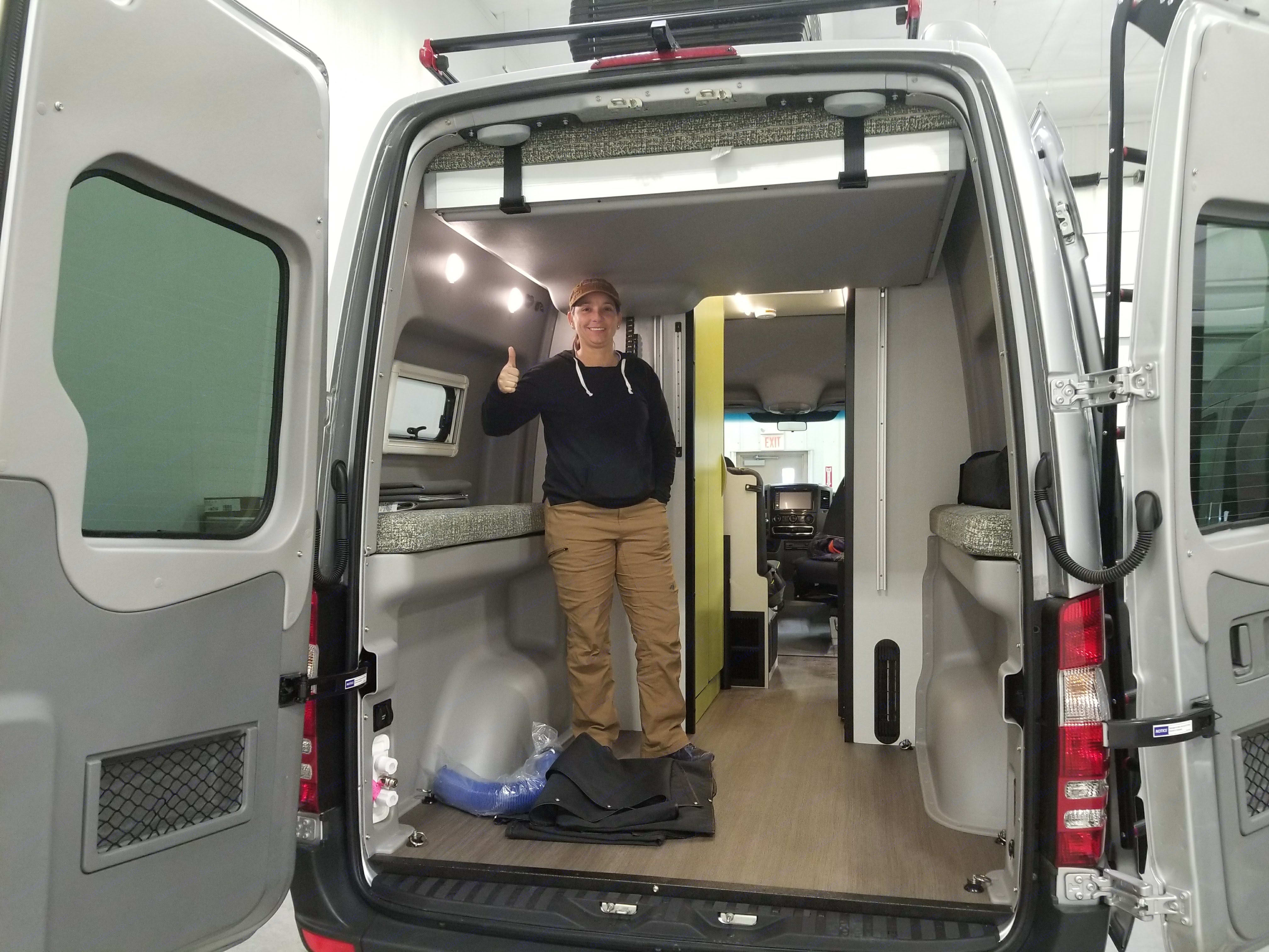 """The clearance height with the bed fully pulled to the top 5'4"""". Mercedes-Benz Sprinter RV Motorhome Campervan 2019"""