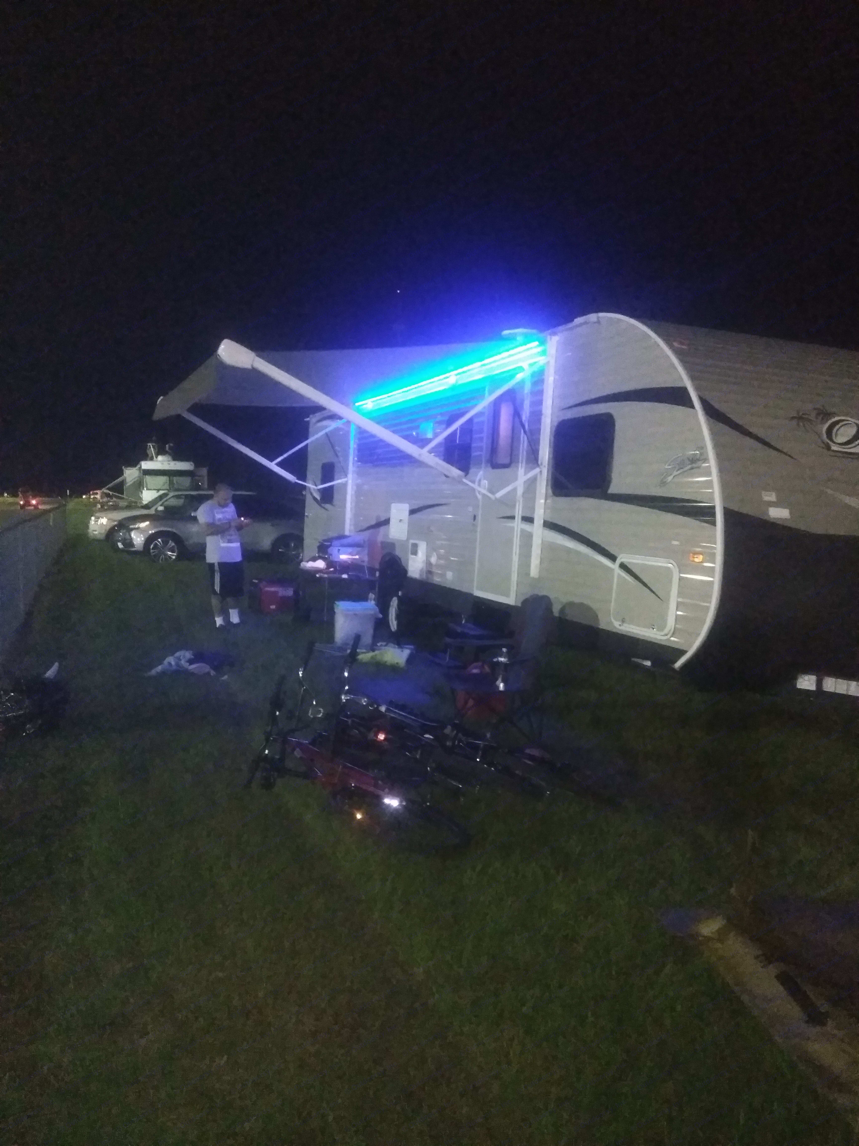 Awning out with the led awing light on. Shasta Oasis 2018