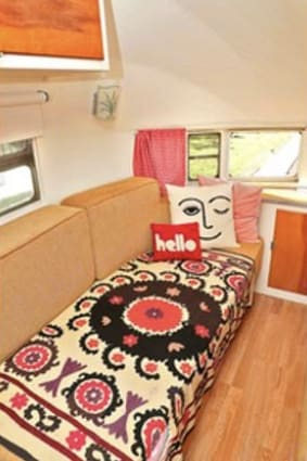 The couches are newly upholstered and made of high quality, organic latex foam.  Super comfortable.. Airstream Airstream 1955