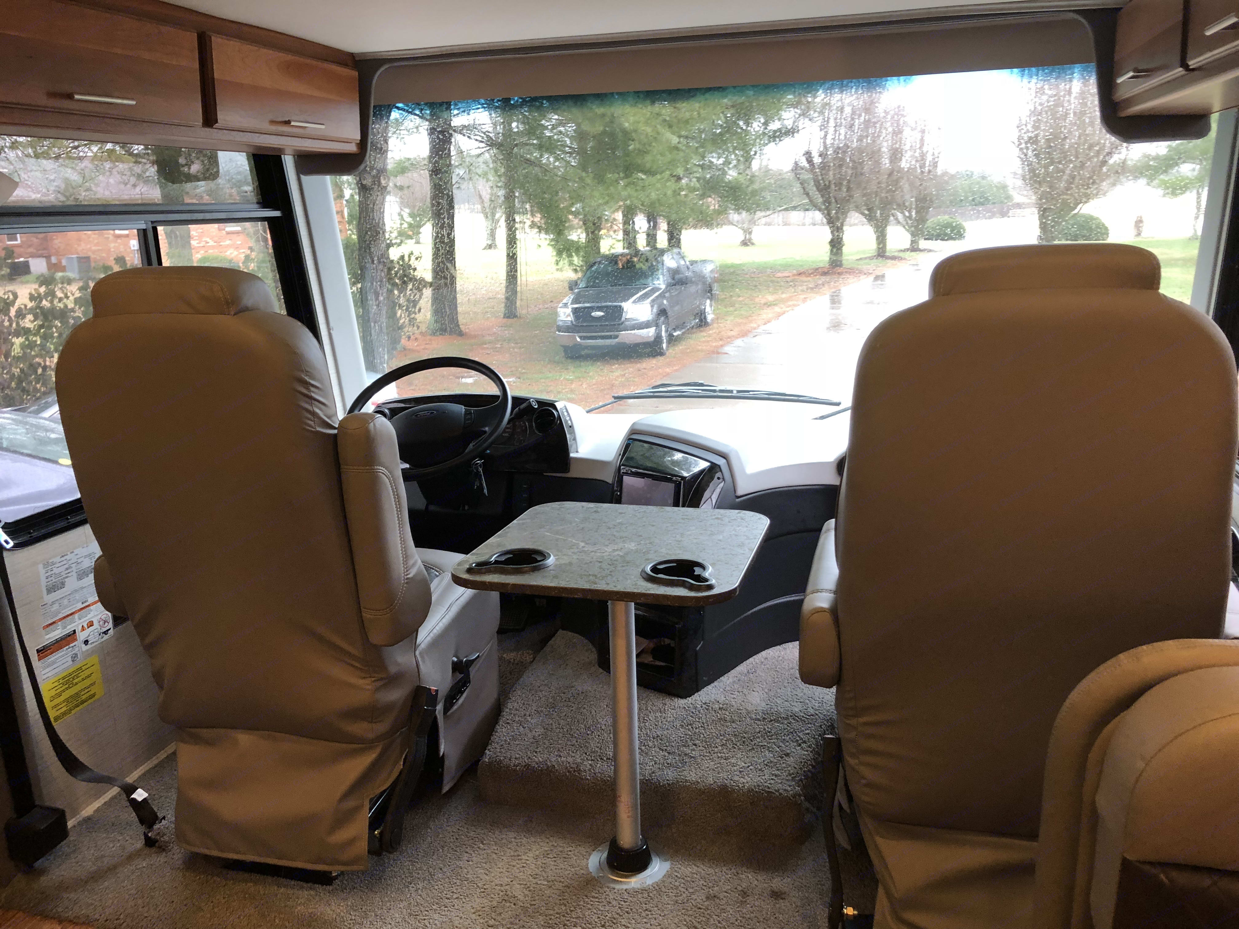 Driving cabin with larger than Queen bed that lowers. Jayco Precept 2017