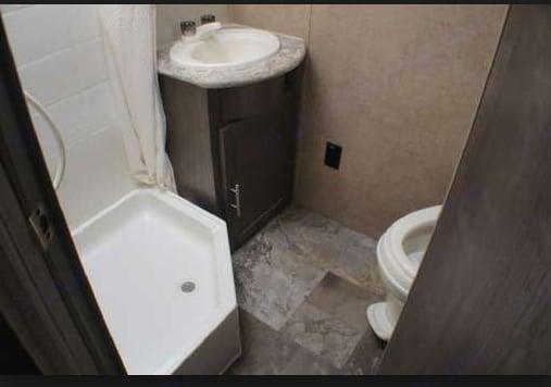 Roomy bathroom...also has a hair dryer.. Forest River R-Pod 183G 2016