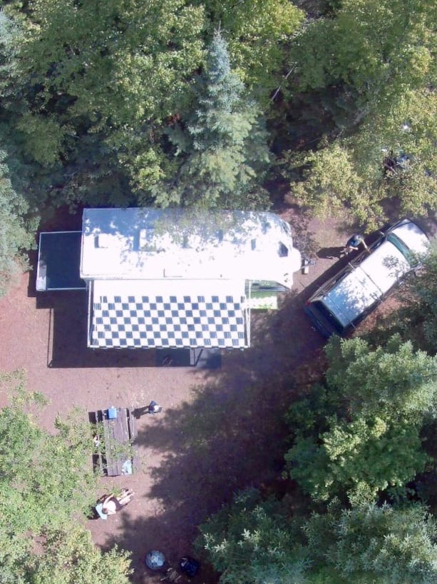 Sky view from drone with awning and ramp/patio out. Fleetwood Nitrous 2008