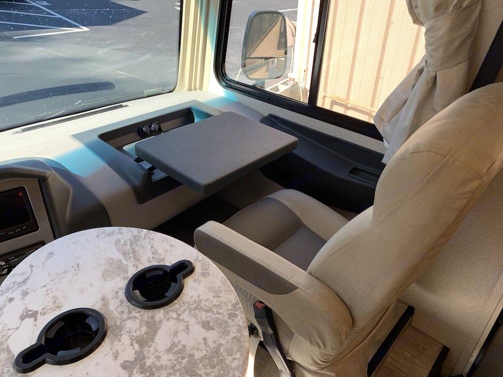 USB Ports at passenger side desk. Coachmen Pursuit 2020