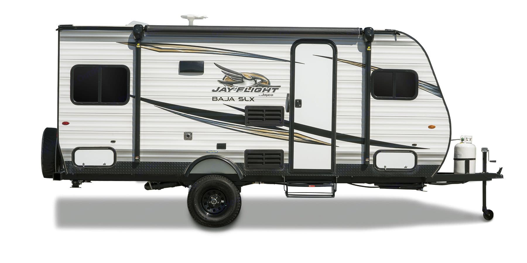 Everything you need in a small package! Great for camping, weekend getaway, or the long haul for multiple weeks! Sleeps 4 has kitchen, gas range,refrigerator,small table, full bathroom (sink toilet shower)this model has the off road package it's meant to me towed down that long dirt road and fit into those tighter campsites!!. Jayco Baja 2019