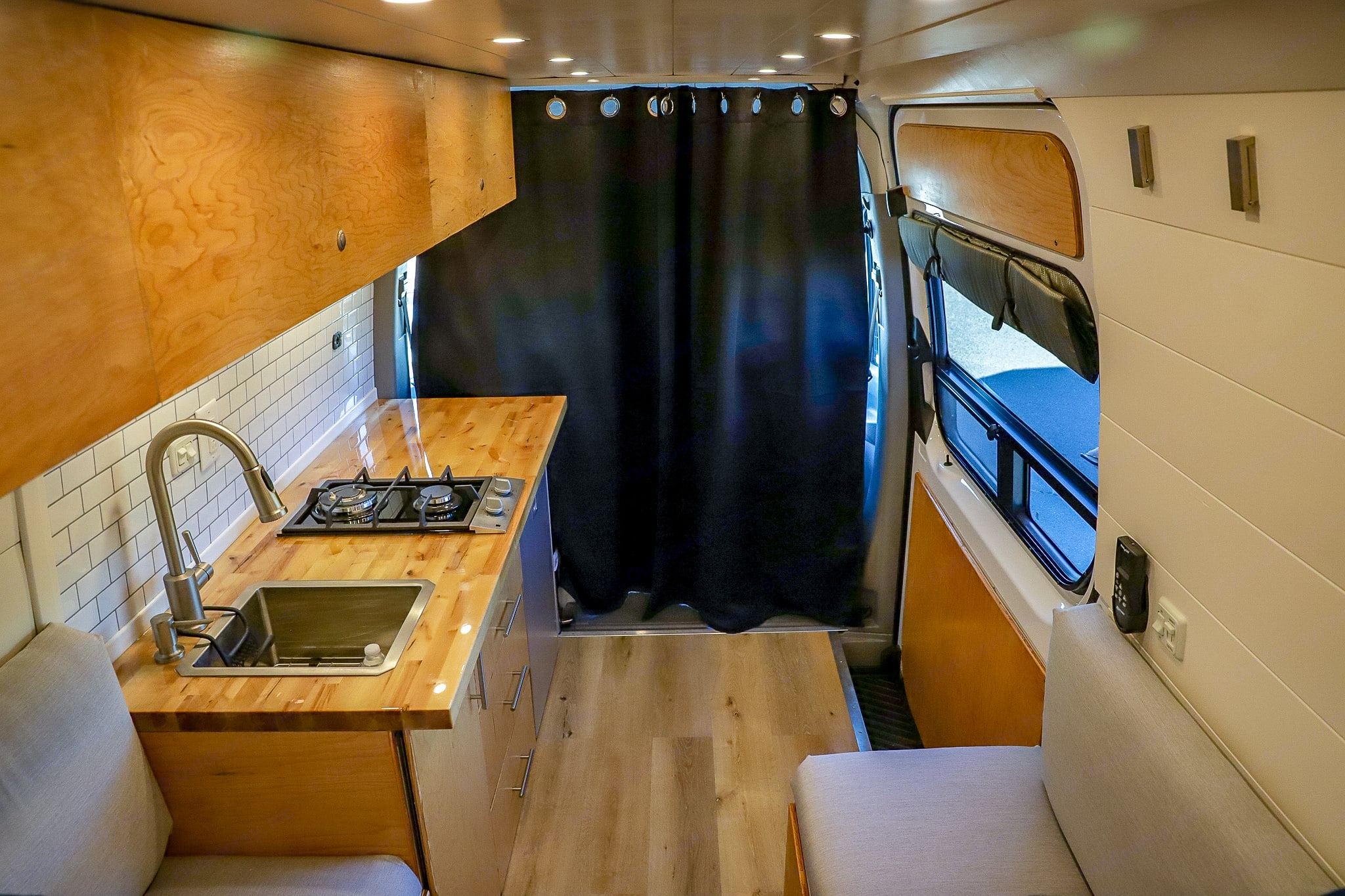 Blackout curtains for privacy. Mercedes Benz Sprinter 2017