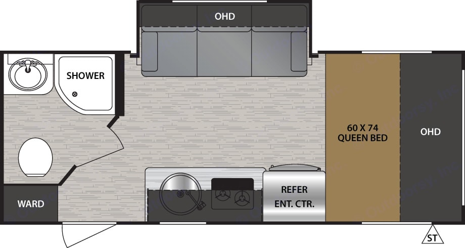 Floorplan to show you the layout of the trailer.. Forest River NOBO 16.8 Easy to tow Trailer 2019