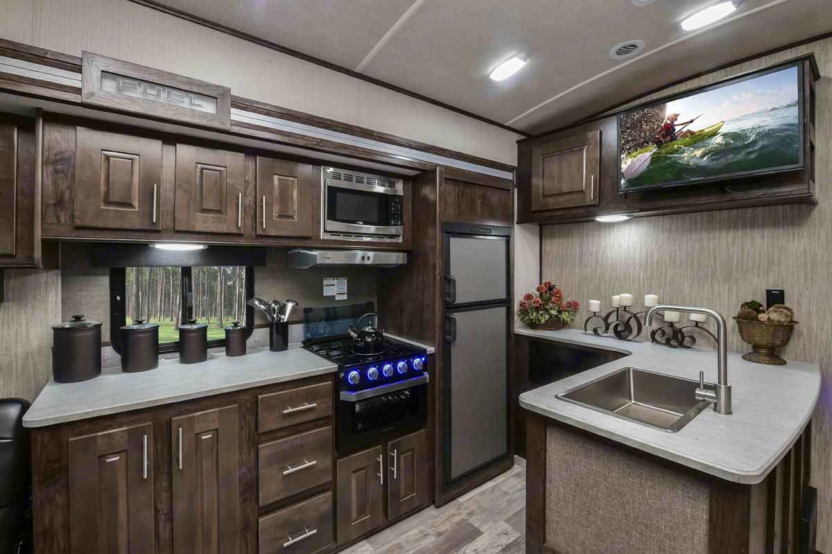 Well stocked kitchen with more than enough counter space.. Heartland Fuel 2019