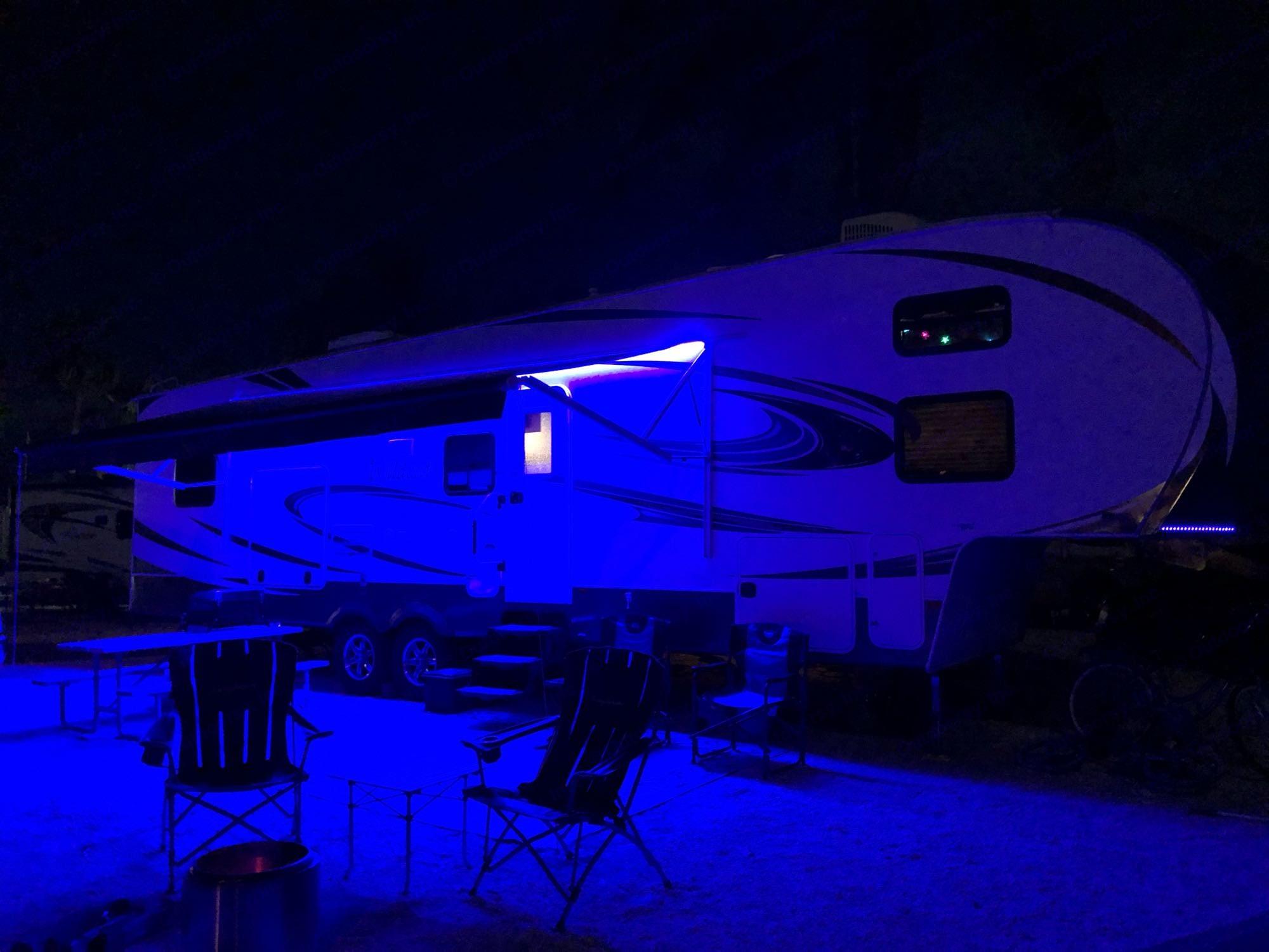 Custom Blue LED lights under awning . Forest River Wildcat 337FB 2013
