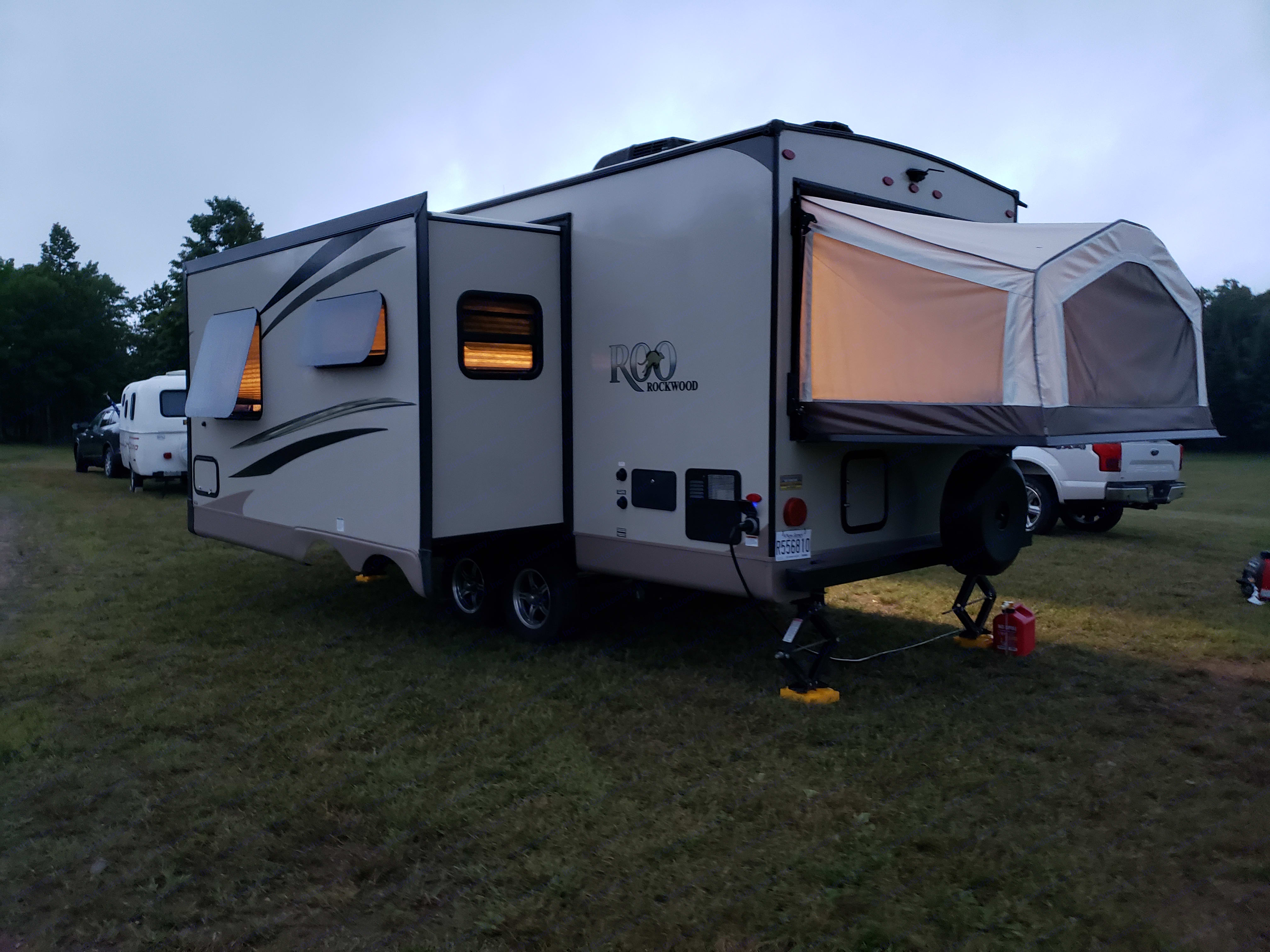 The extra large slide out provides more interior space for guests.. Forest River Rockwood Roo 2019
