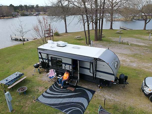 Shot from Above with my Drone.  This is at Treasure Isle RV Park in Hot Springs AR. . Forest River Cherokee Grey Wolf Limited 24JS 2019