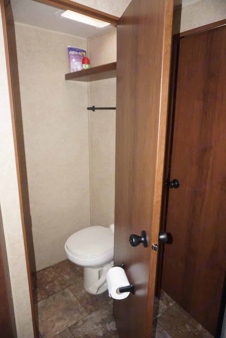 Restroom next to shower in master . Jayco Jay Flight 2014