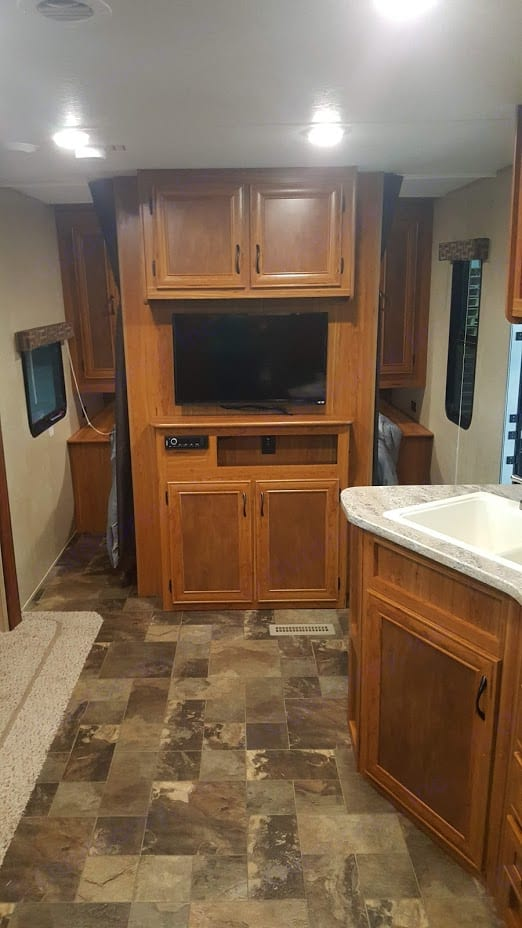 Entertainment center in front of Main bedroom.. Starcraft AR-One Maxx 2017