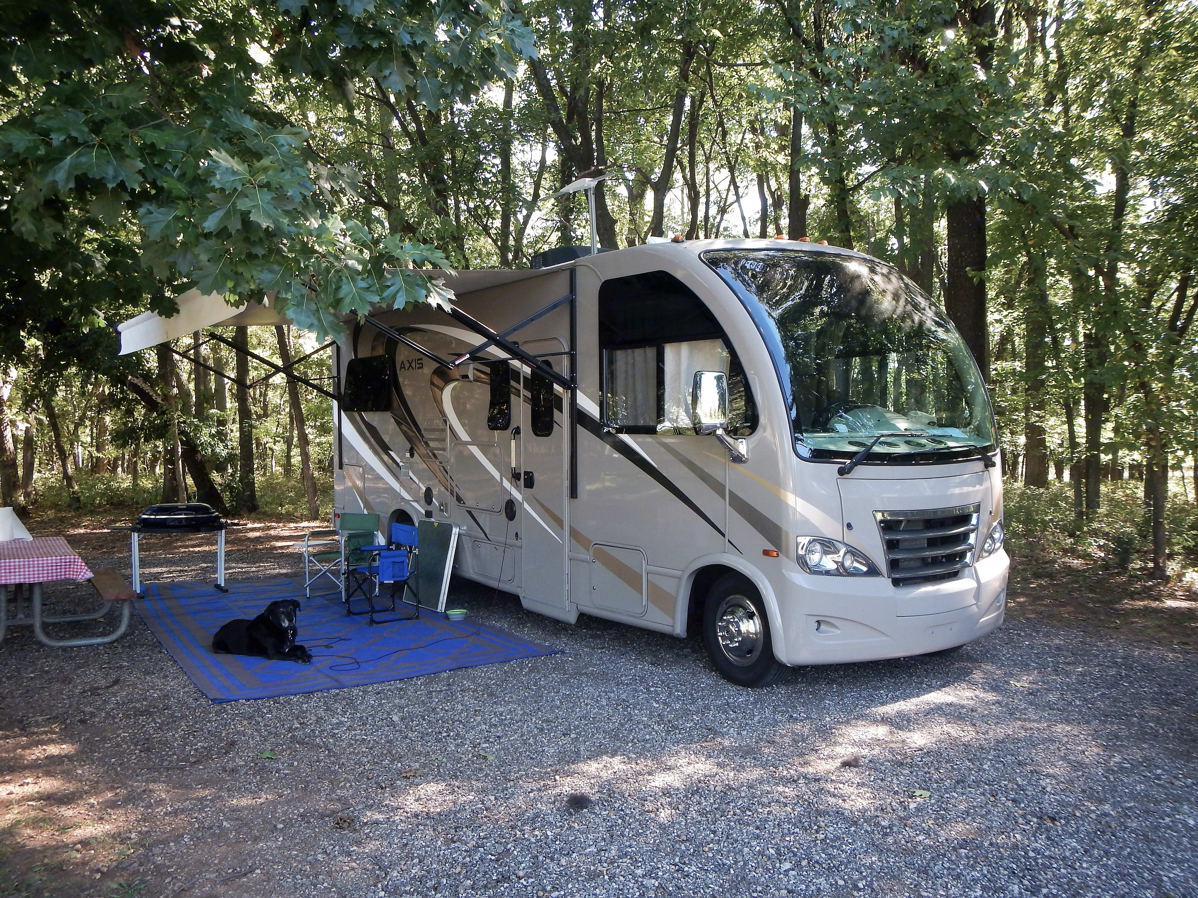 Included in rental 4 camp chairs, folding table, outdoor rug. Oscar the dog not included. Thor Motor Coach Axis 2016