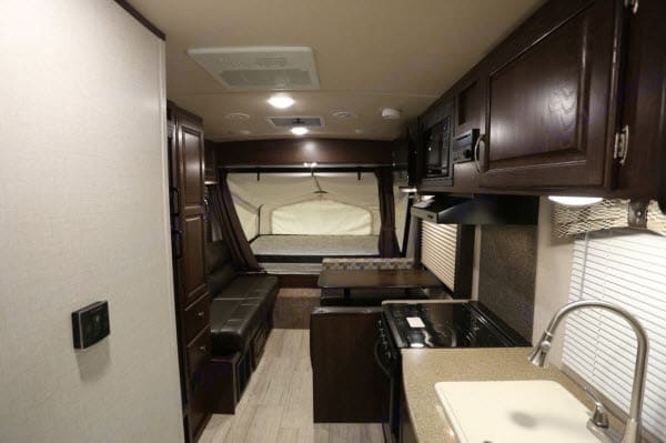 Full kitchen, fold down table and sofa that will turn into beds. Solaire Palomino 2018
