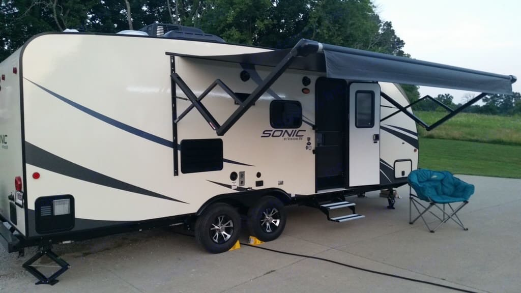 Enjoy those cool nights under the electric awning. Venture RV Sonic 2018