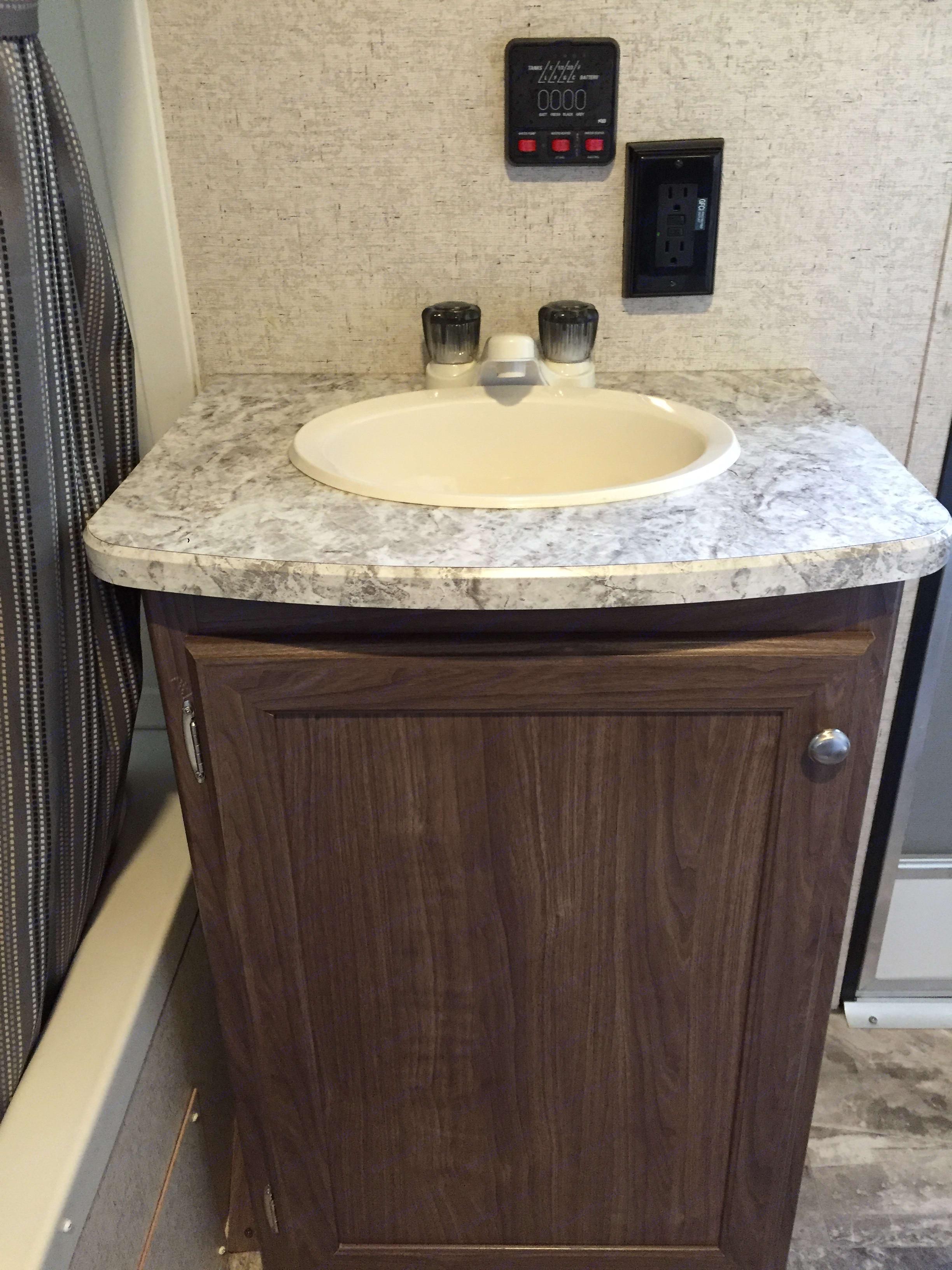 Sink in bathroom. Heartland Pioneer 2018
