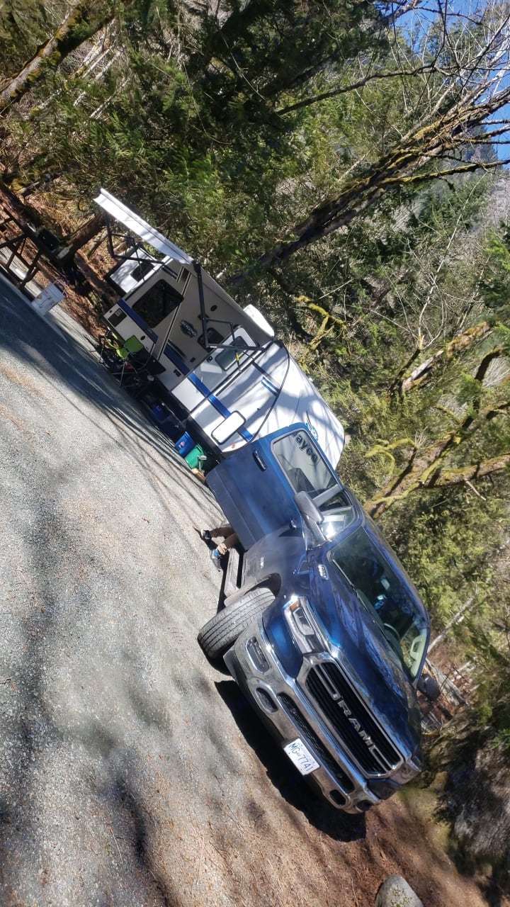 Trailer all setup at a Campsite. Jayco Jay Feather 2017