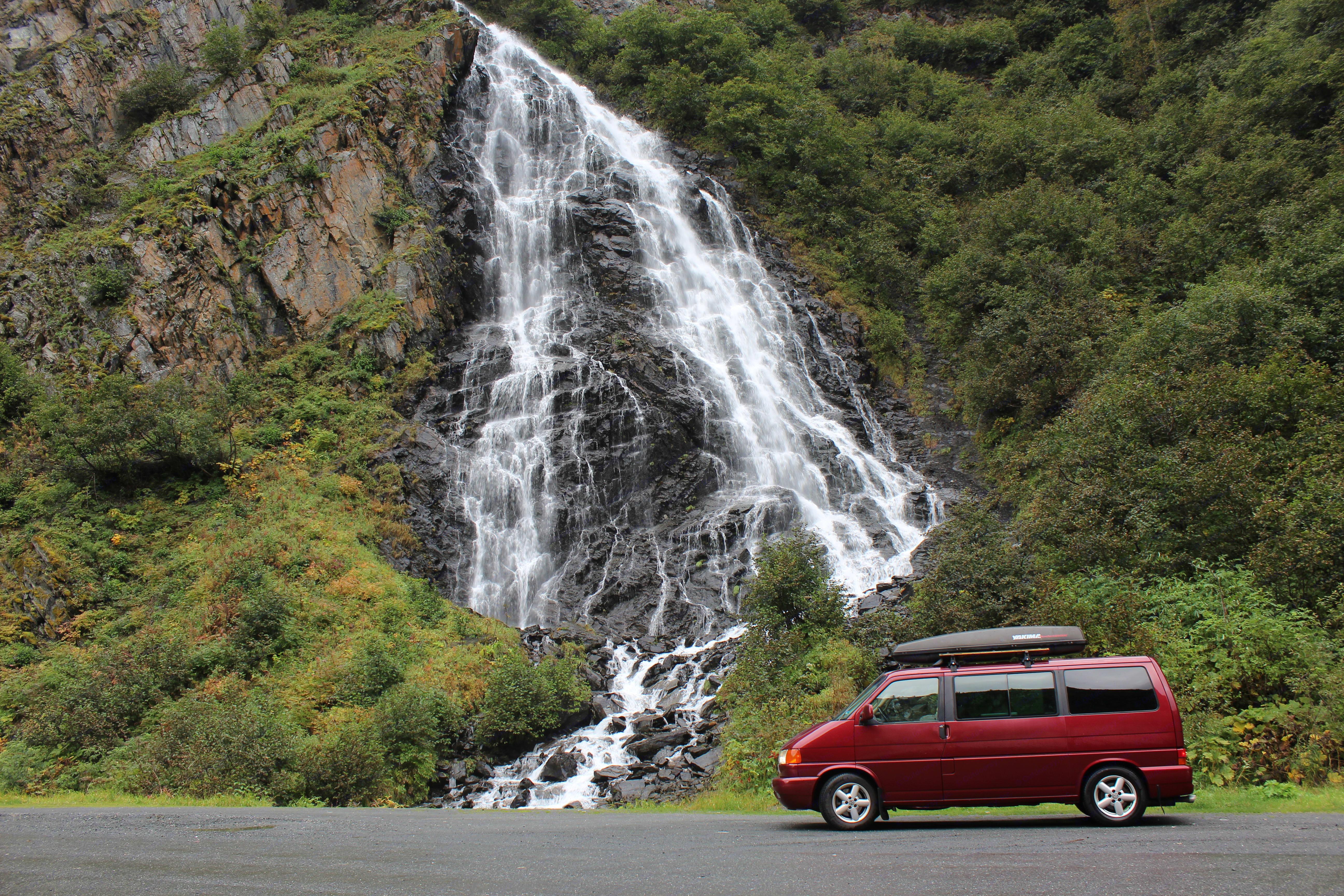 Beautiful waterfalls on the way to Valdez!. Volkswagen Eurovan 2001