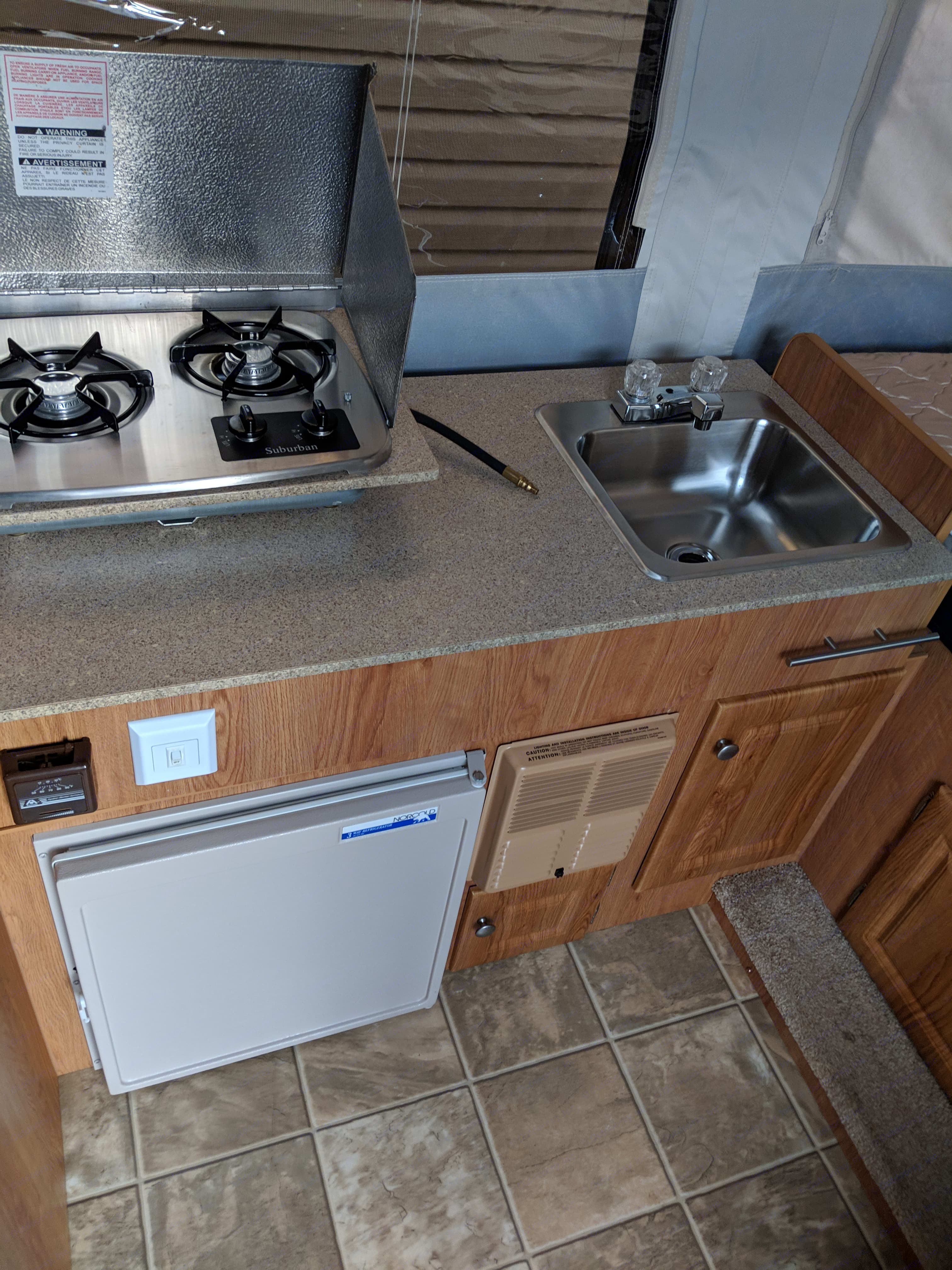 Fridge, Stove top and sink. Jayco Jay Series 2008