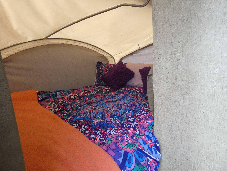Rear queen bed area.. Coachmen Apex 2016