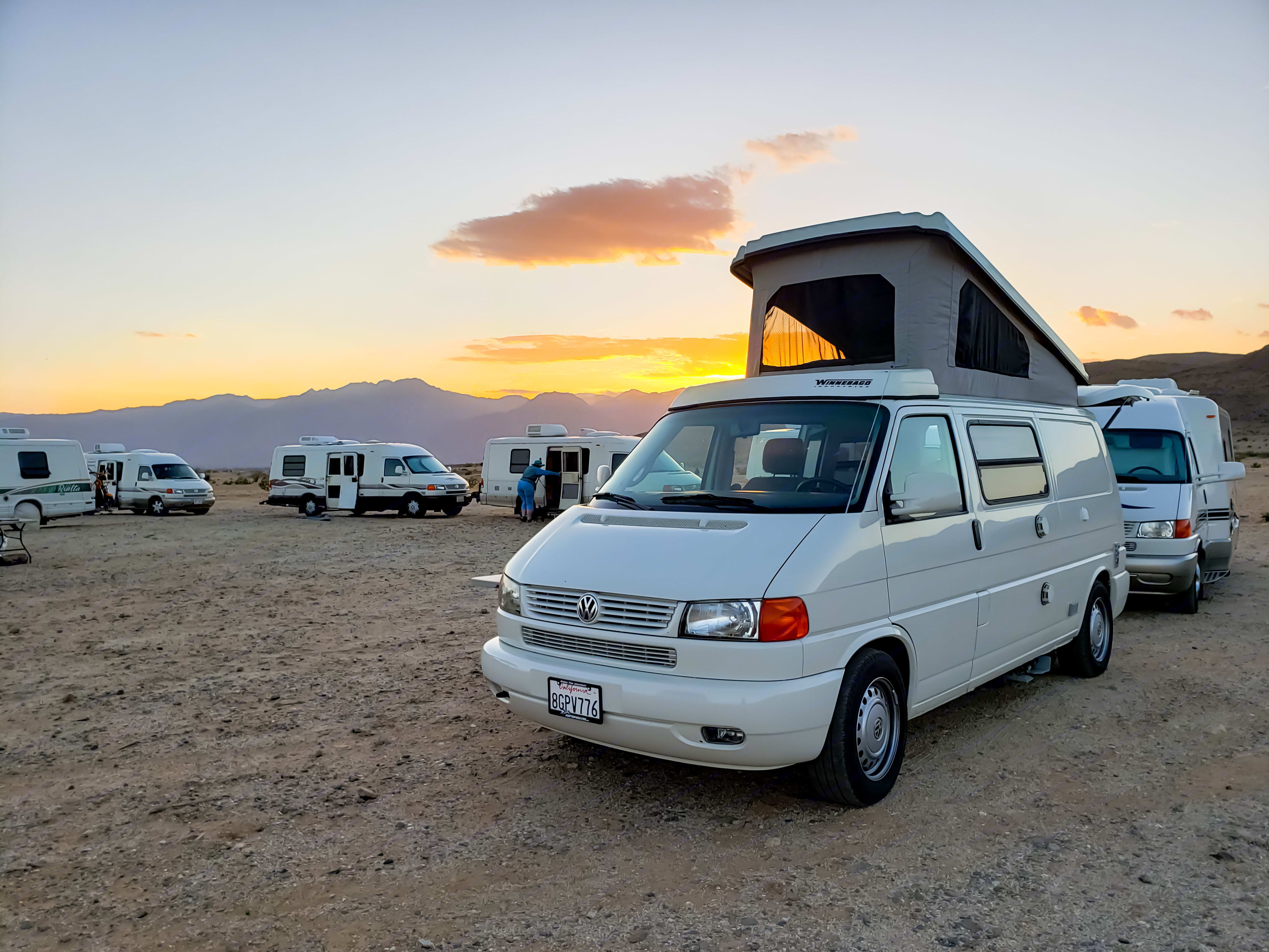 Camping with friends in Anza Borrego Desert State Park, just 2 hours south of Pop Top Heaven. Volkswagen Eurovan Camper 2003