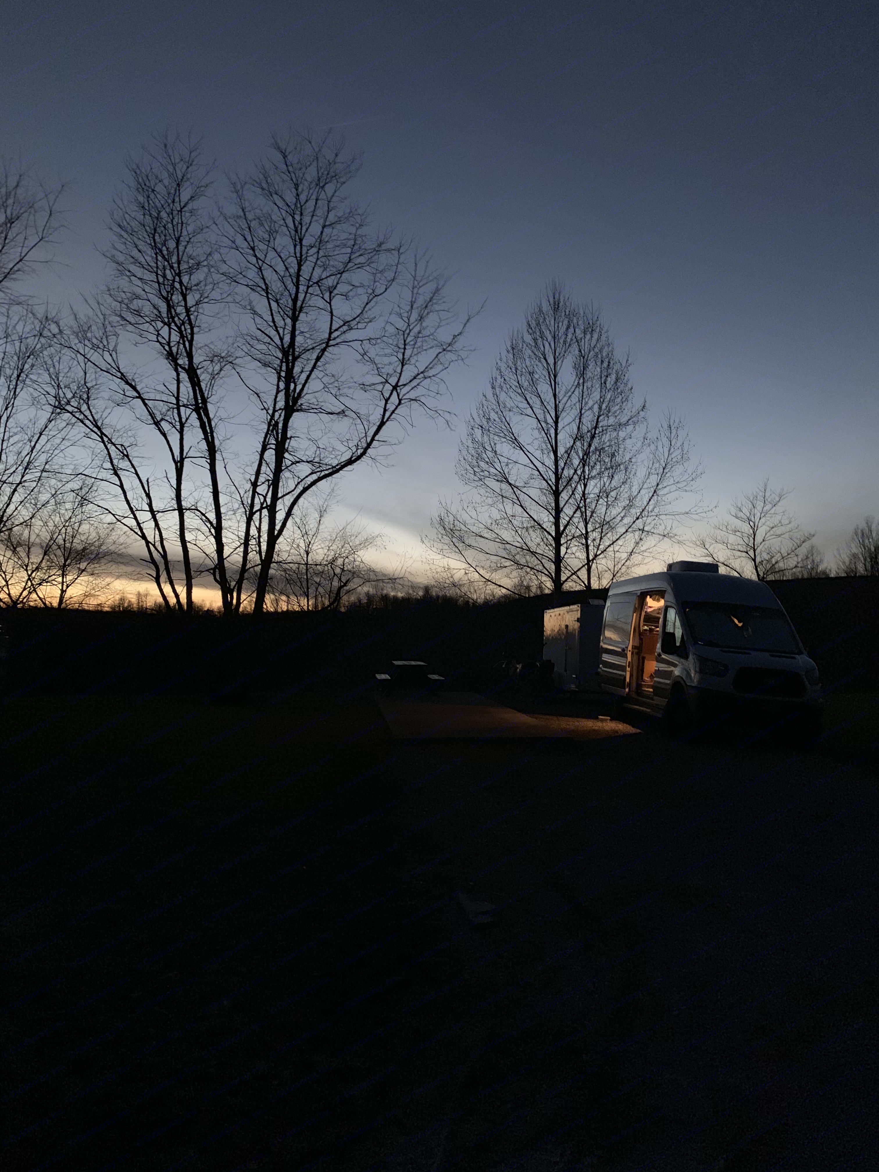 Sunset on top of a mountain in West Virginia . Ford Transit Custom 2017
